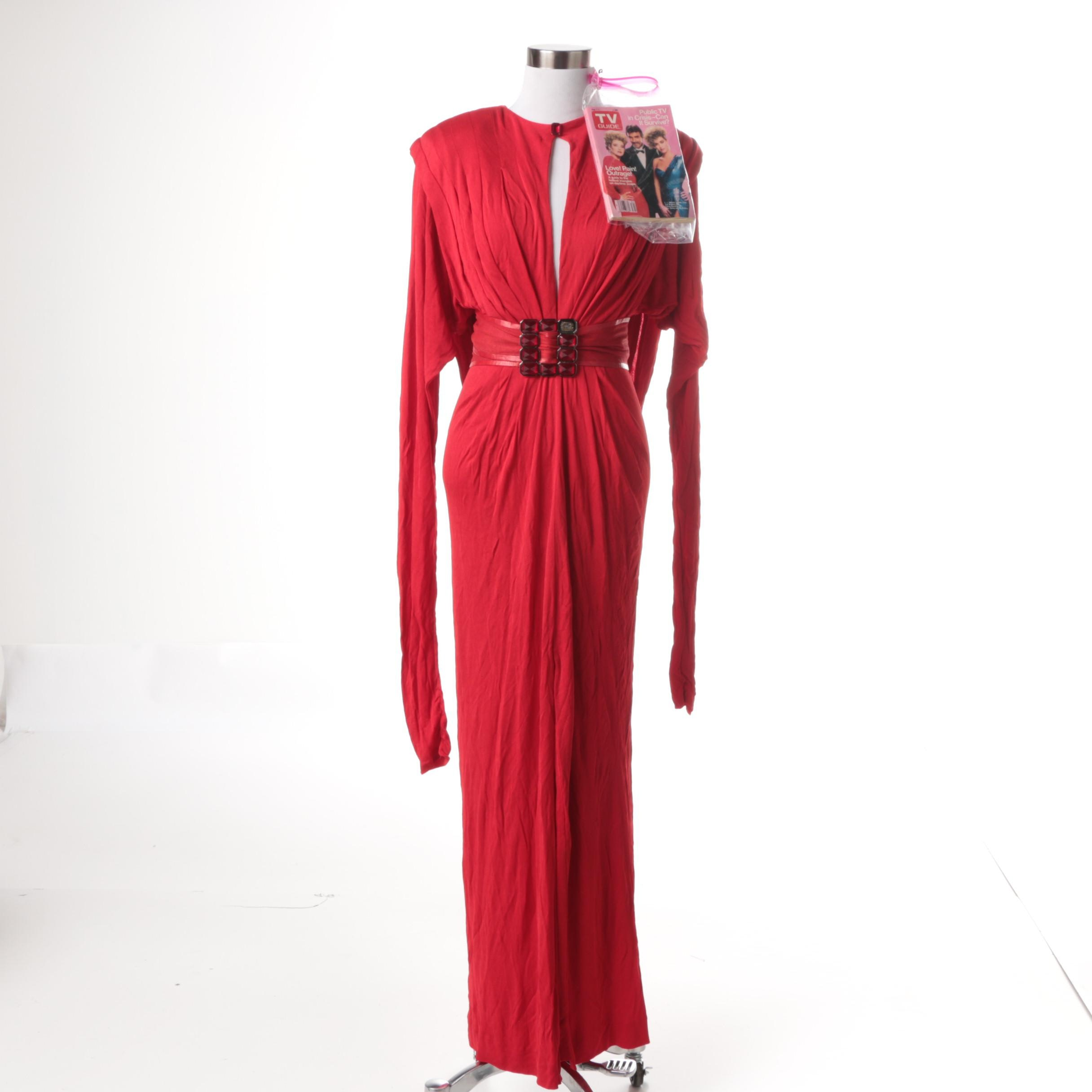 Vintage Robert Berdell Red Evening Gown