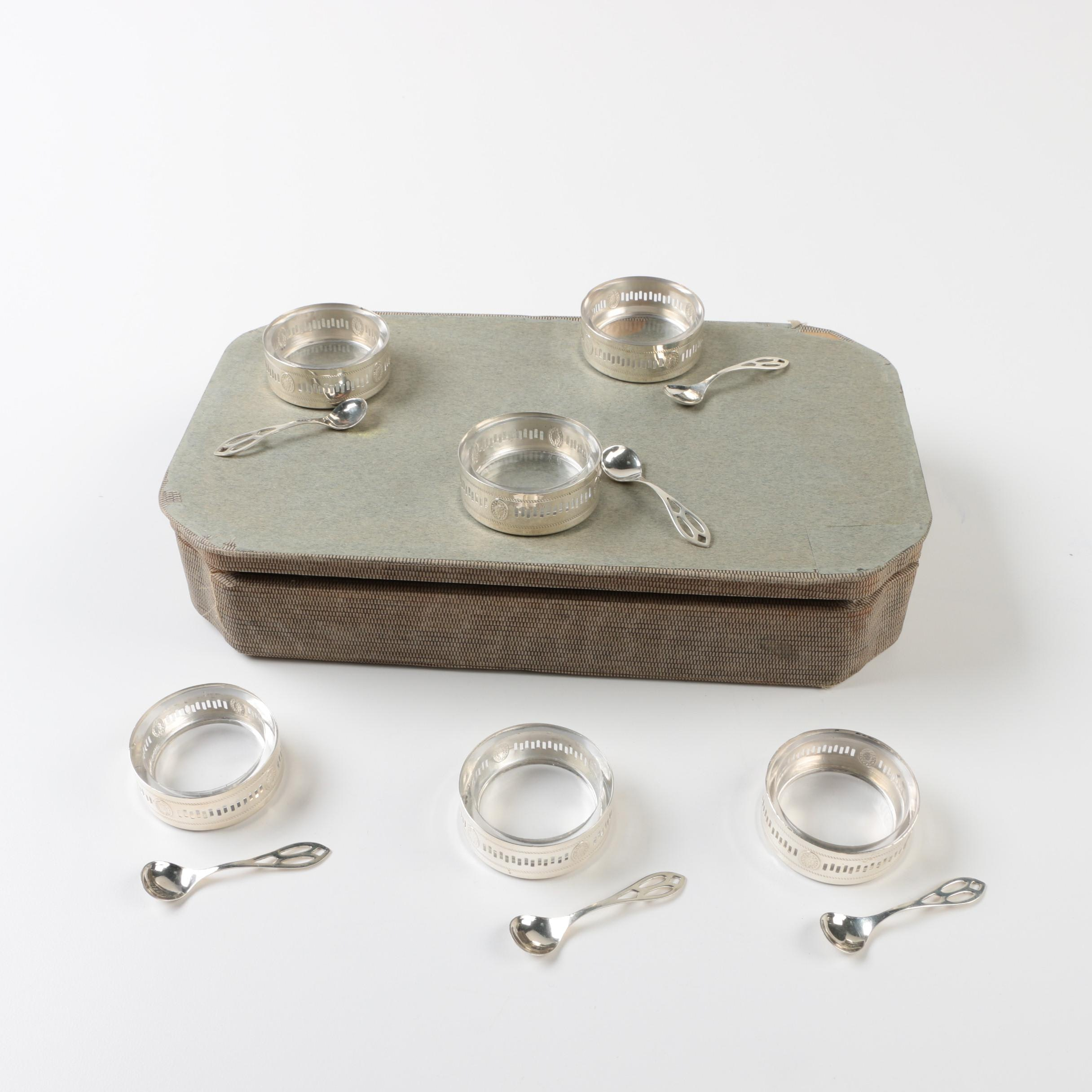 Webster Company Sterling Silver Salt Cellar and Spoon Set with Glass Inserts