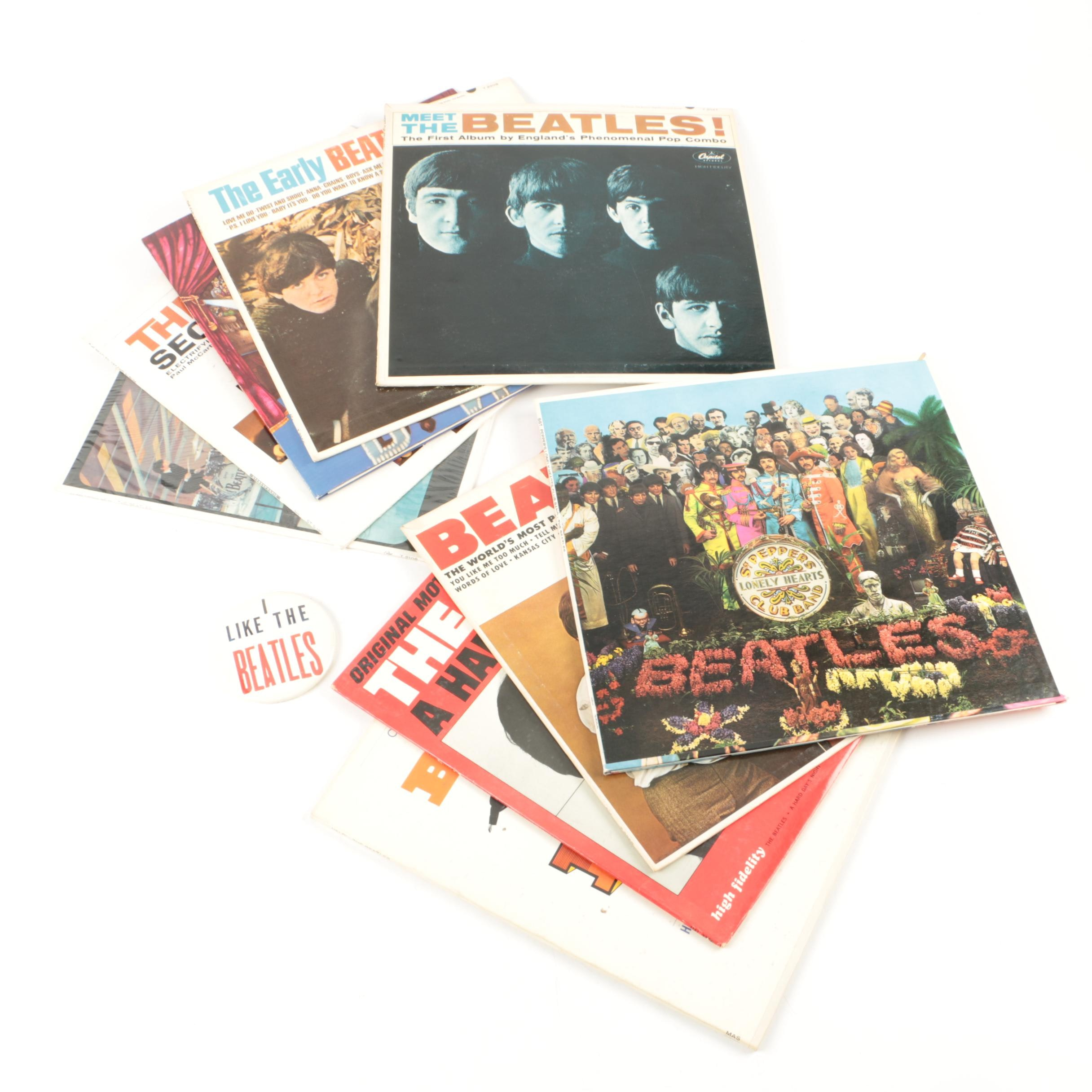 "Nine Beatles LPs and ""I Like the Beatles"" Button"
