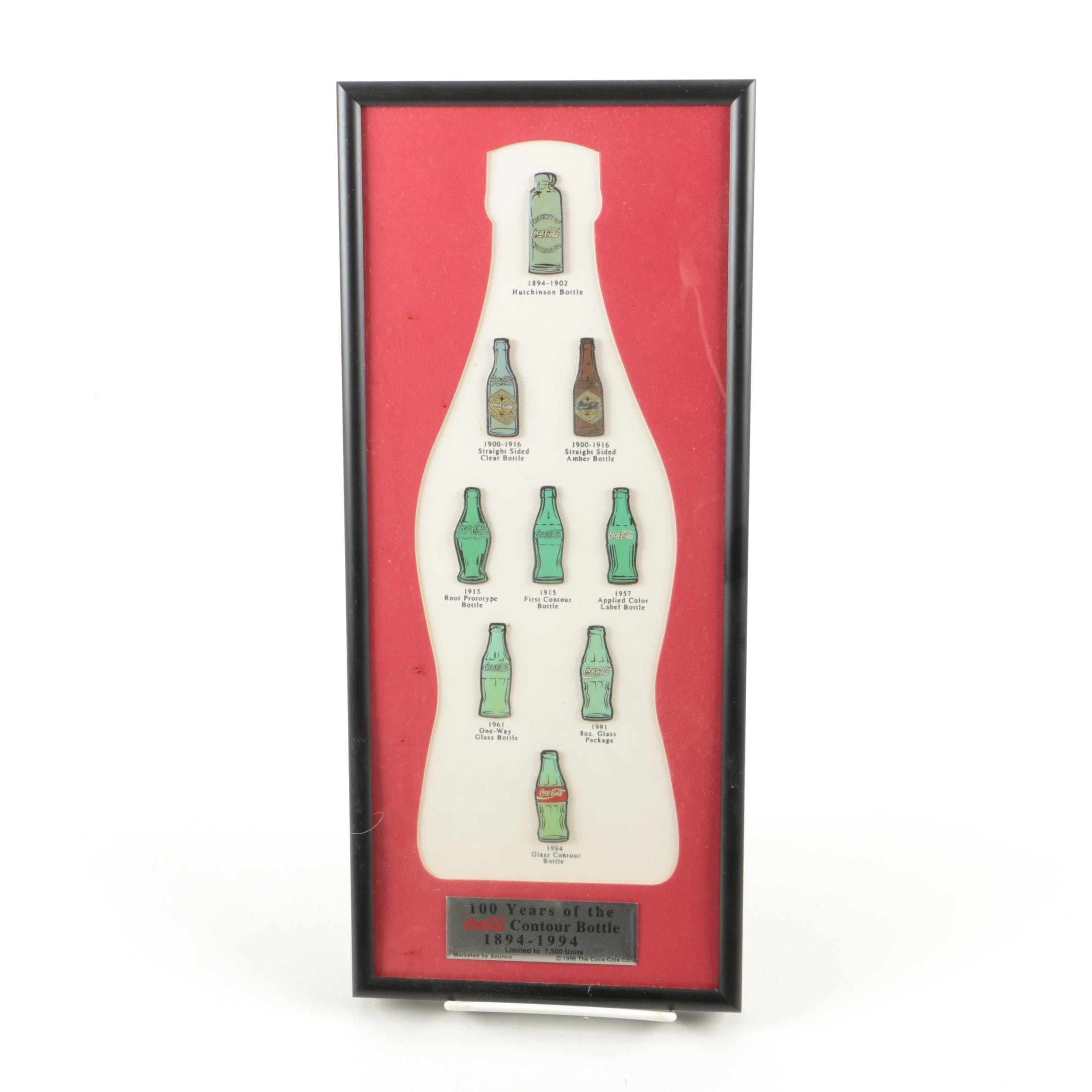 """100 Years of the Coca-Cola Countour Bottle"" Framed Pin Collection"