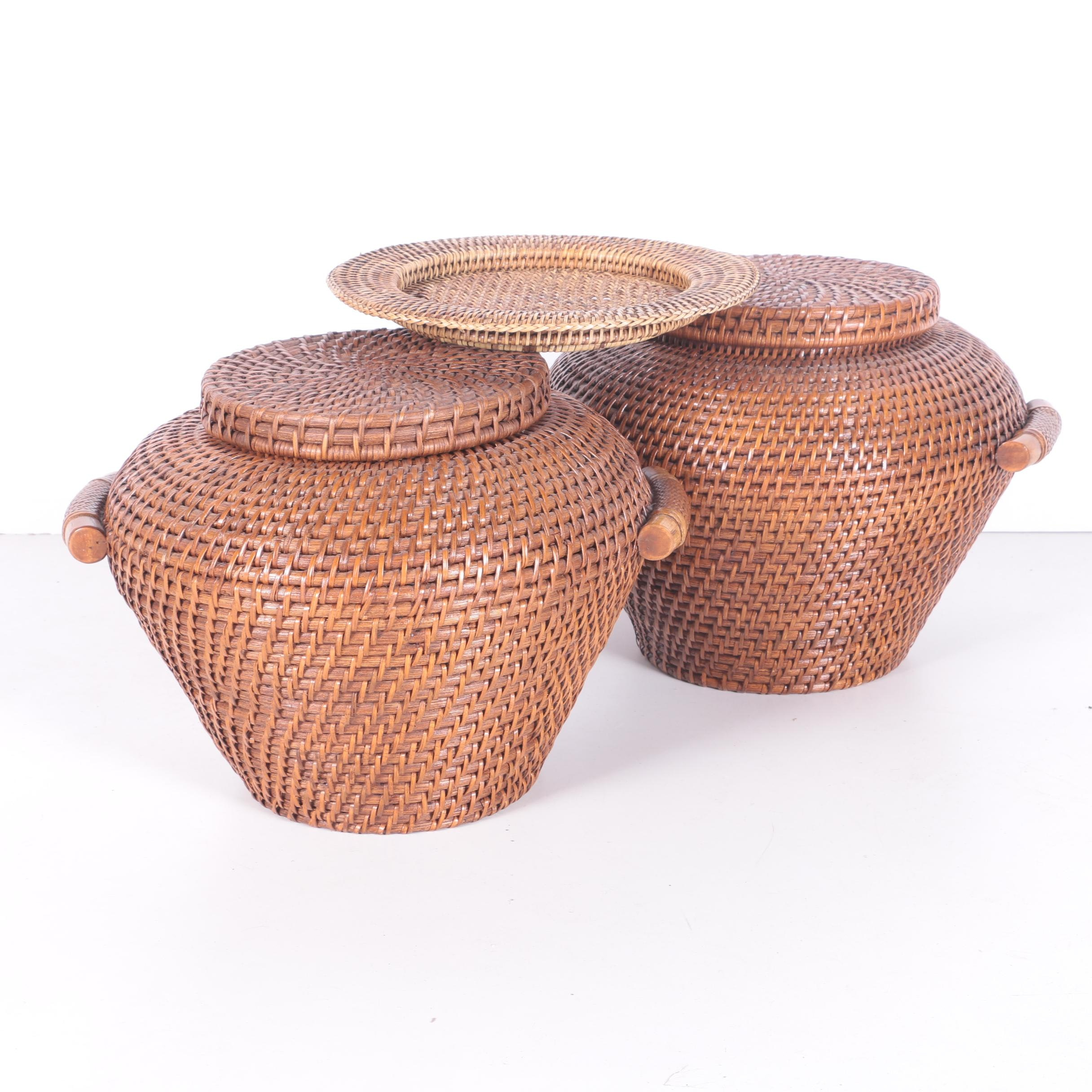 Lidded Baskets and Woven Tray