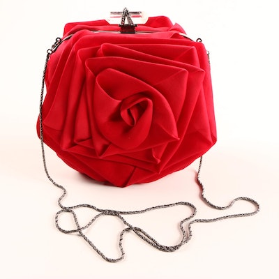 Marchesa Red Silk Evening Bag with Crystal Clasp