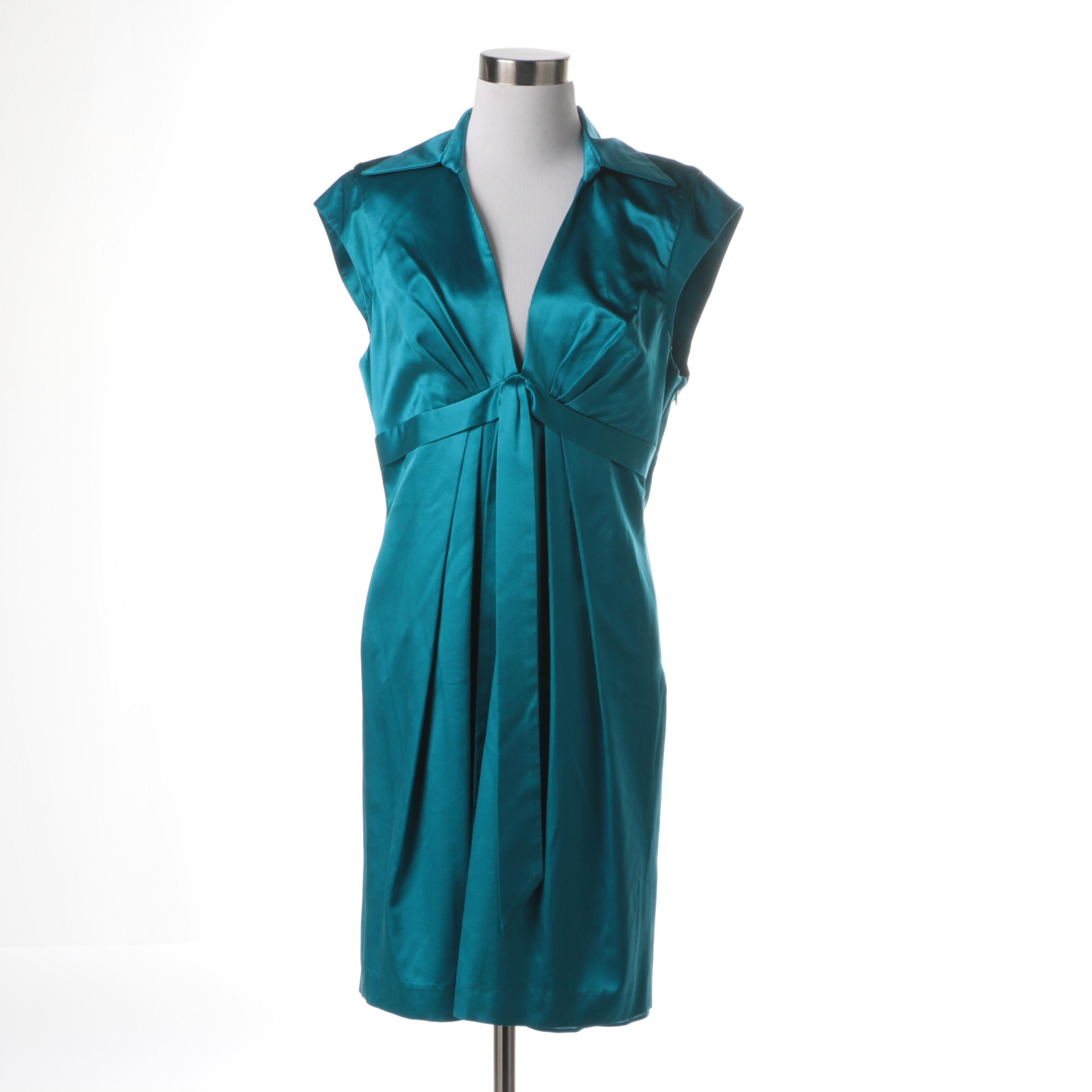 Dina Bar-El Teal Silk Cap Sleeve Dress