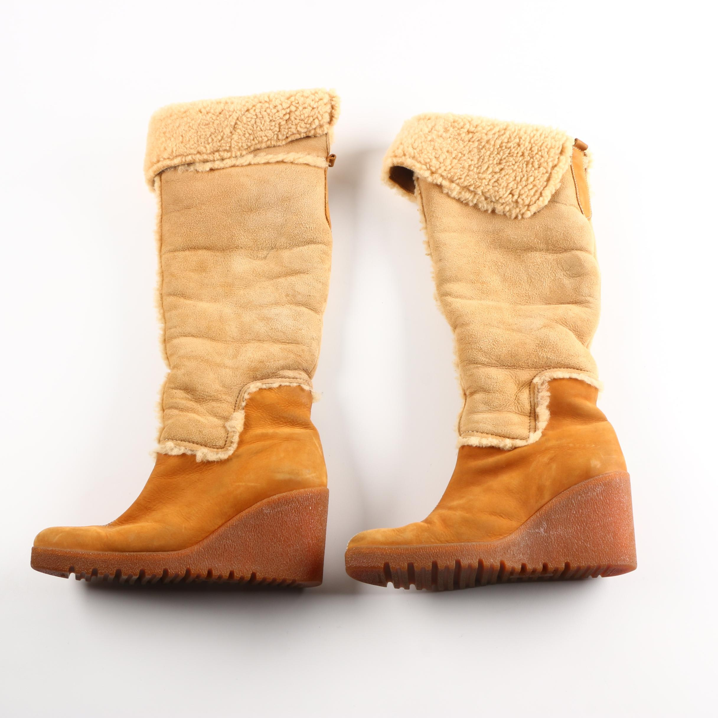 Arche Shearling Wedge Boots