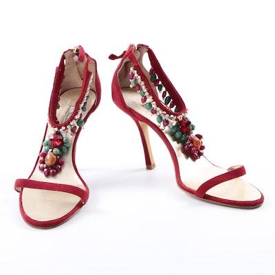 Oscar de la Renta Beaded Suede Stiletto Sandals