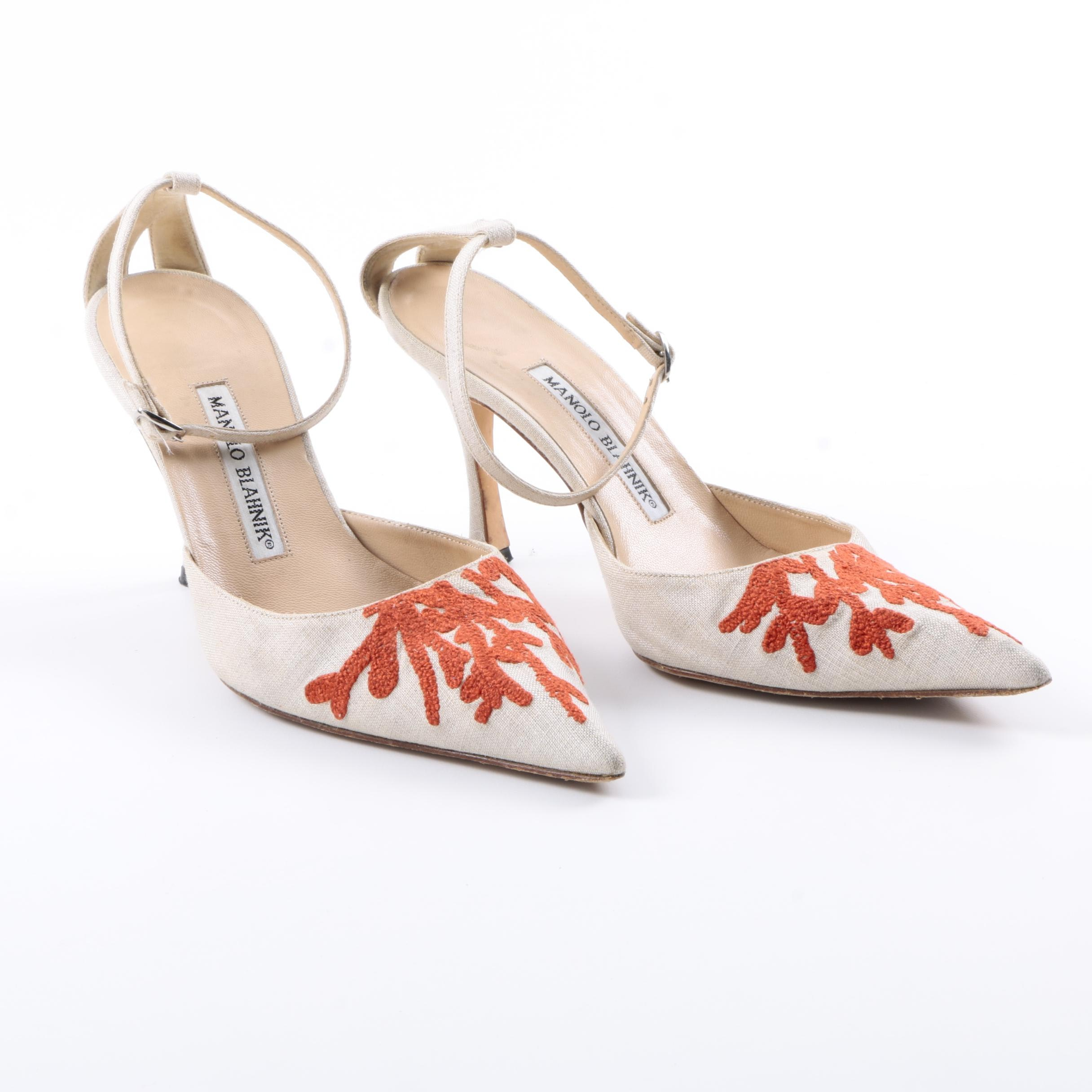 Manolo Blahnik Coral Embroidered Ankle Strap Heels