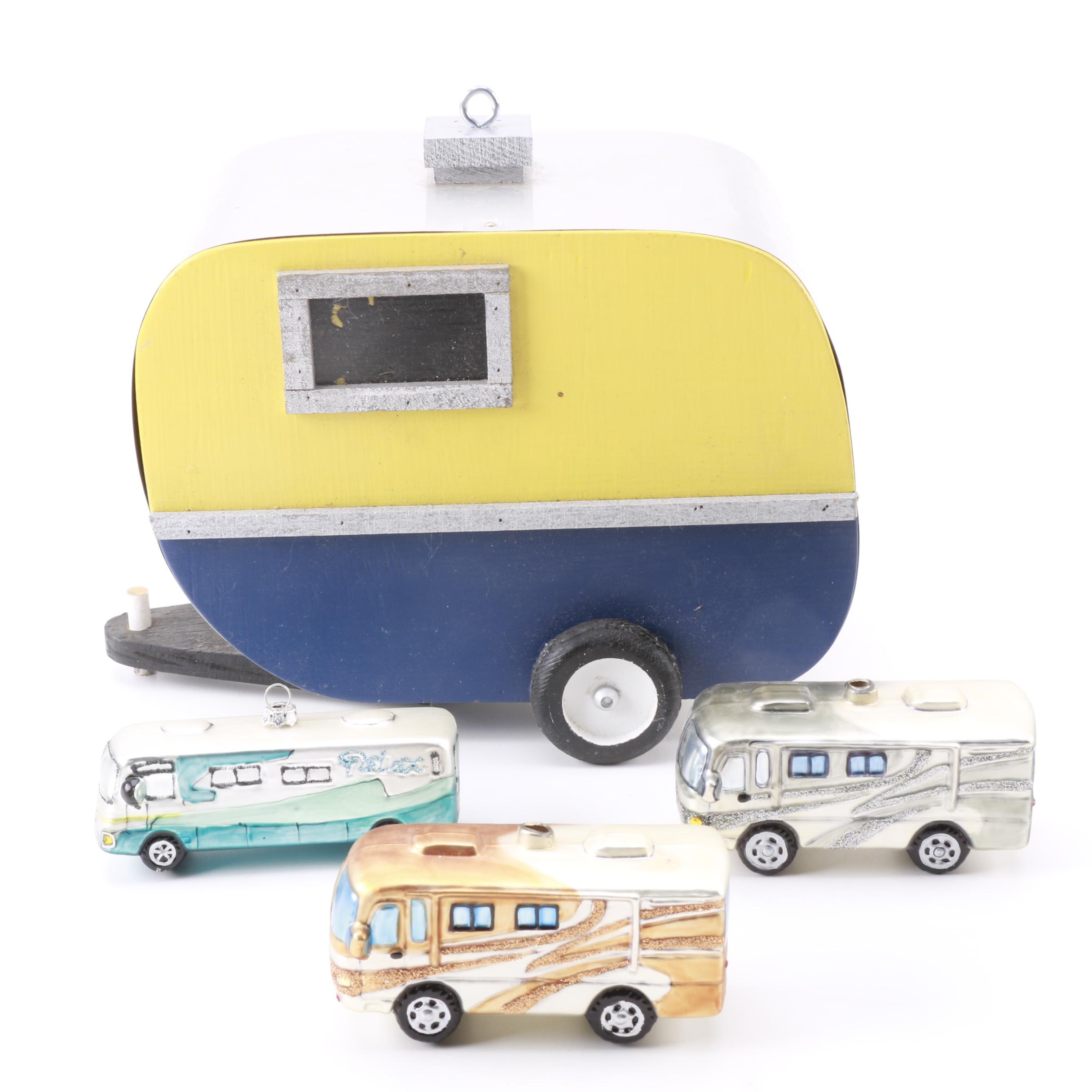 Vintage Travel Trailer Birdhouse and Christmas Tree Ornaments
