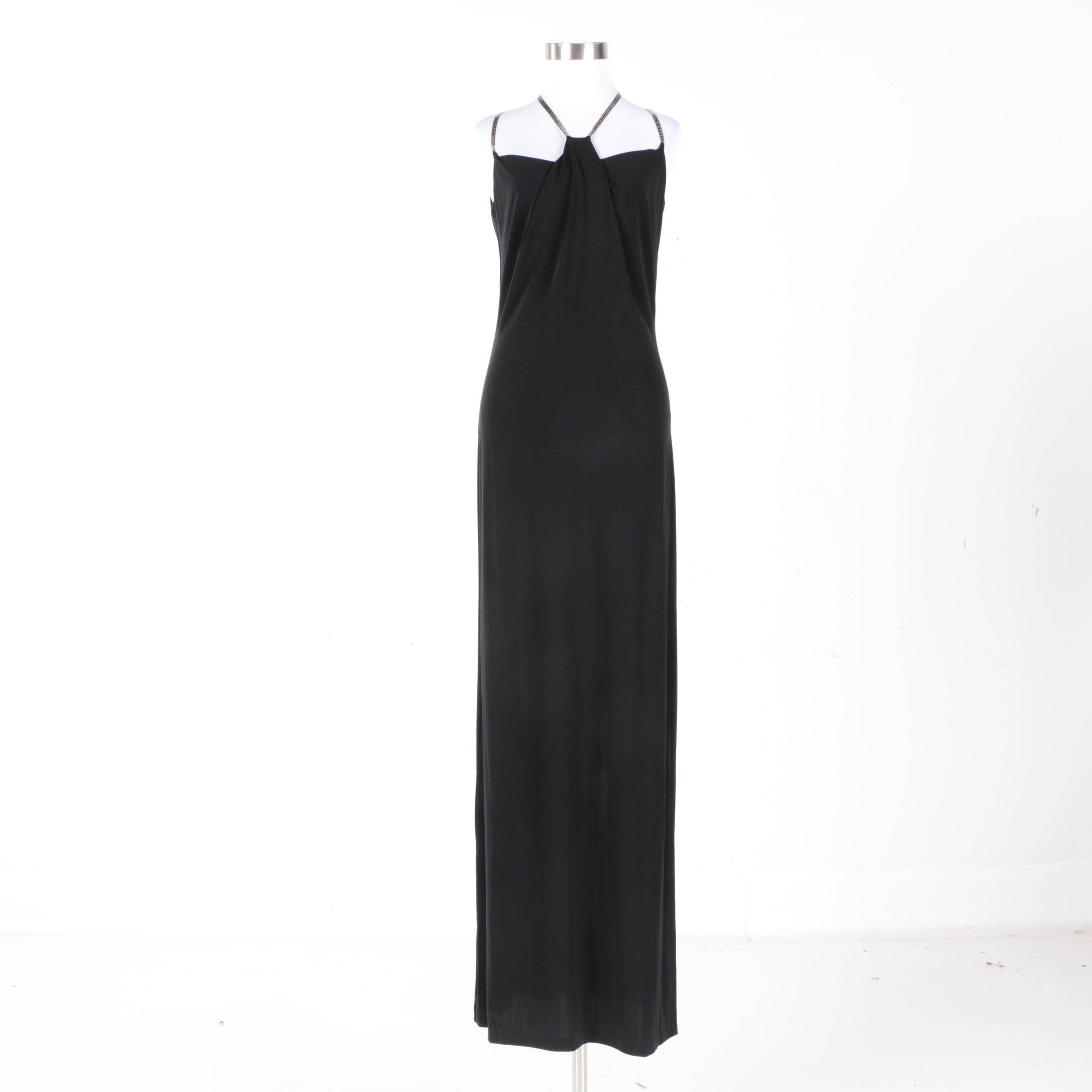 Plein Sud of France Black Sleeveless Evening Gown with Sequined Straps