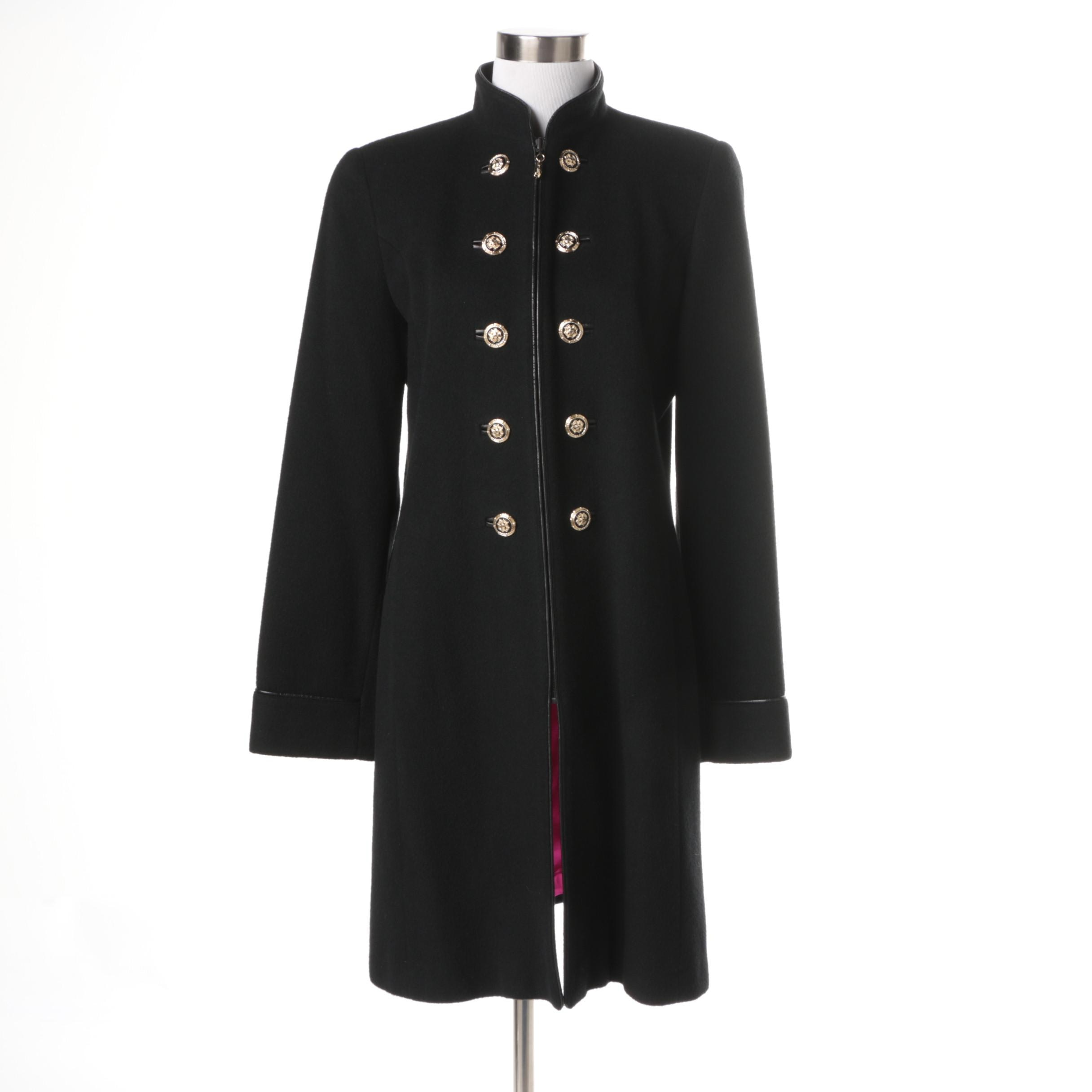 Women's St. John Coat Collection Black Cashmere and Wool Blend Overcoat