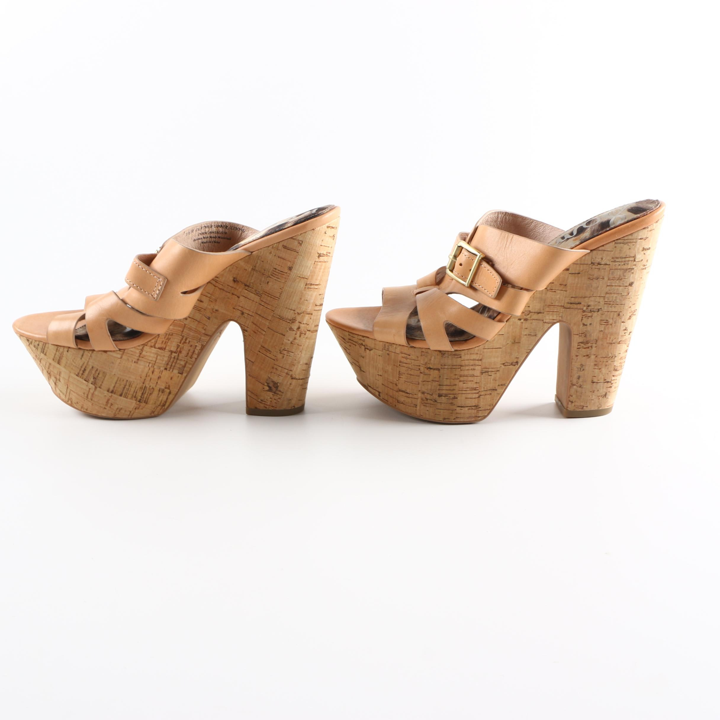 Sam Edelman Slip-On Cork Platform High Heel Sandals