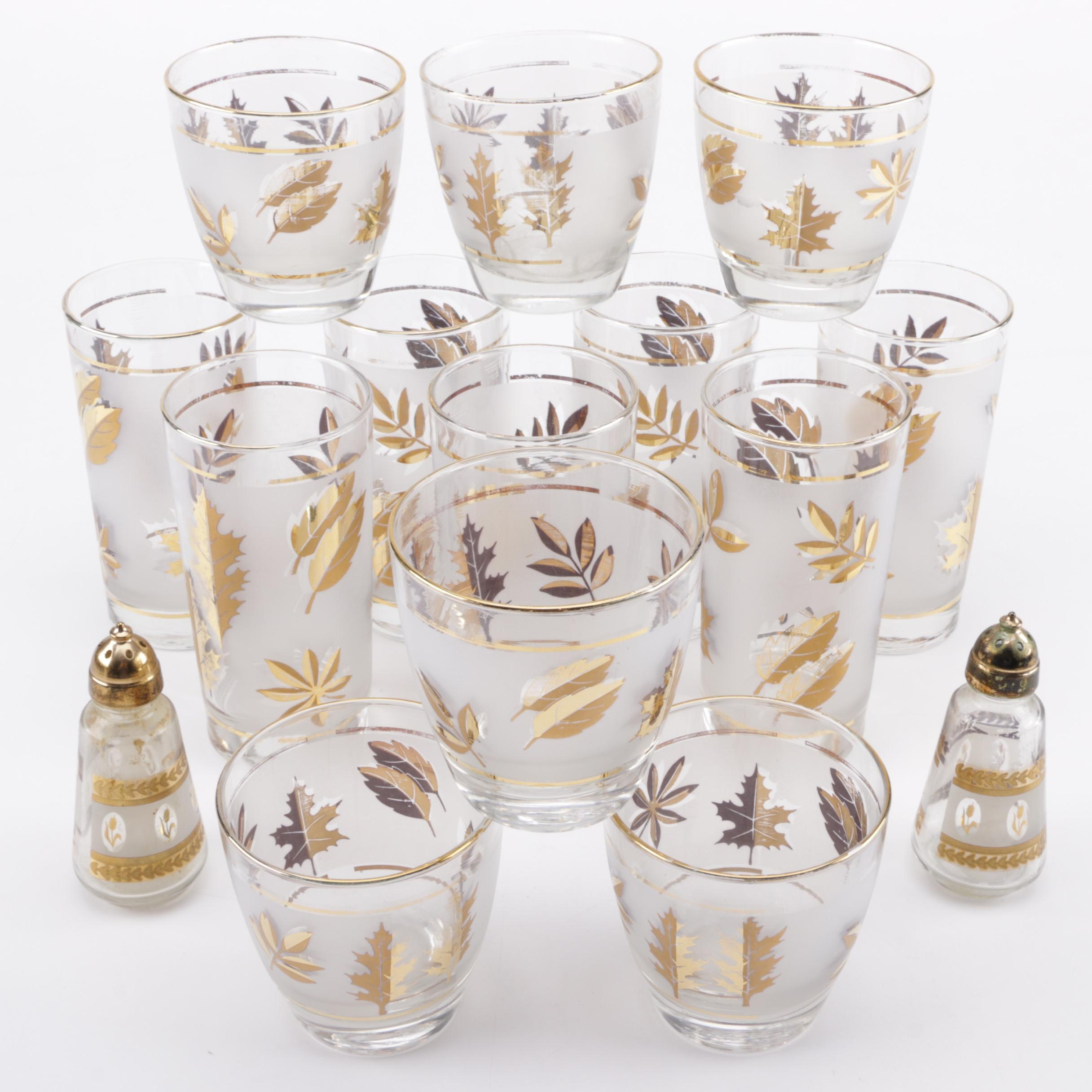 "Vintage Libbey ""Golden Foliage"" Glassware"