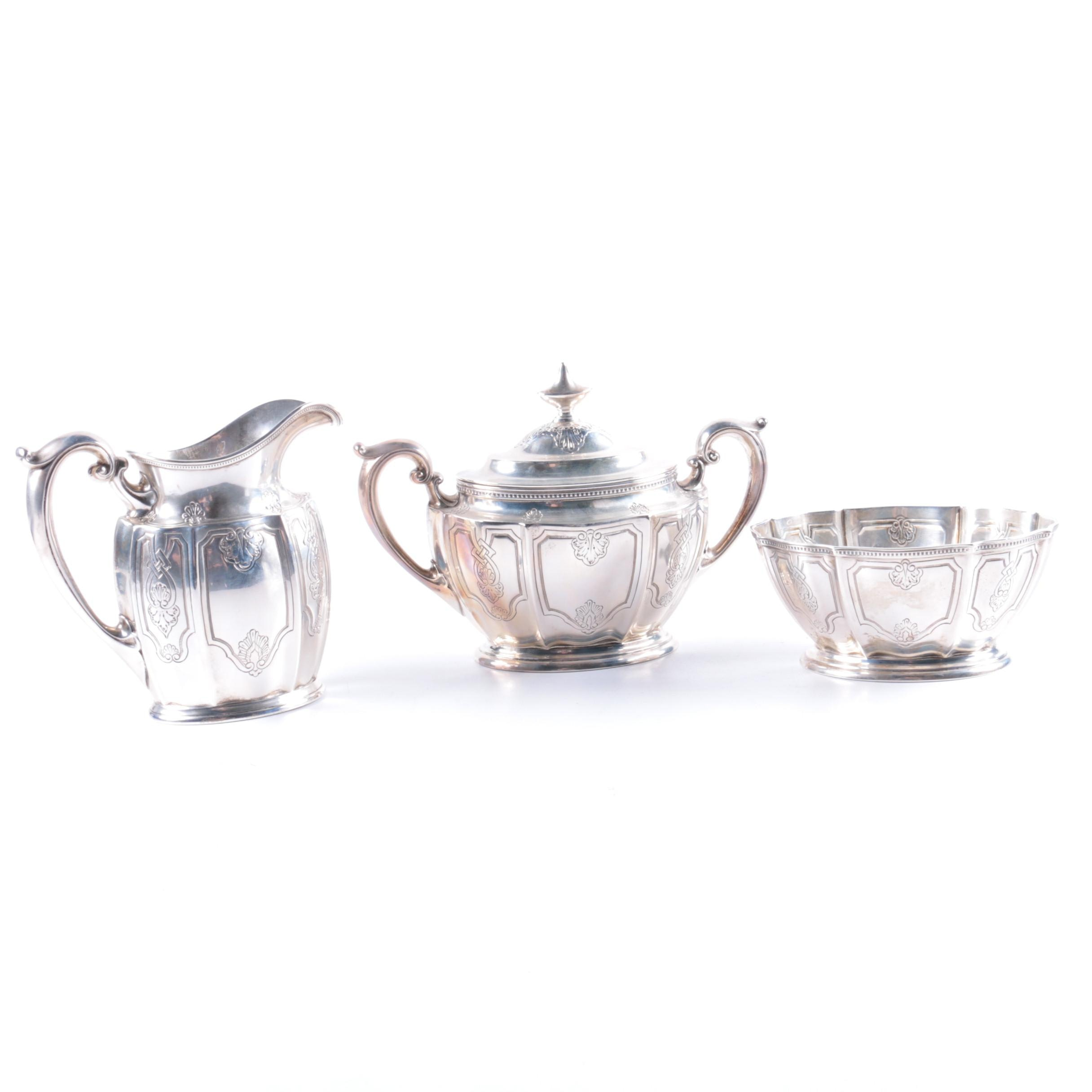 1929 Gorham Sterling Silver Creamer, Sugar Bowl, and Waste Bowl Set