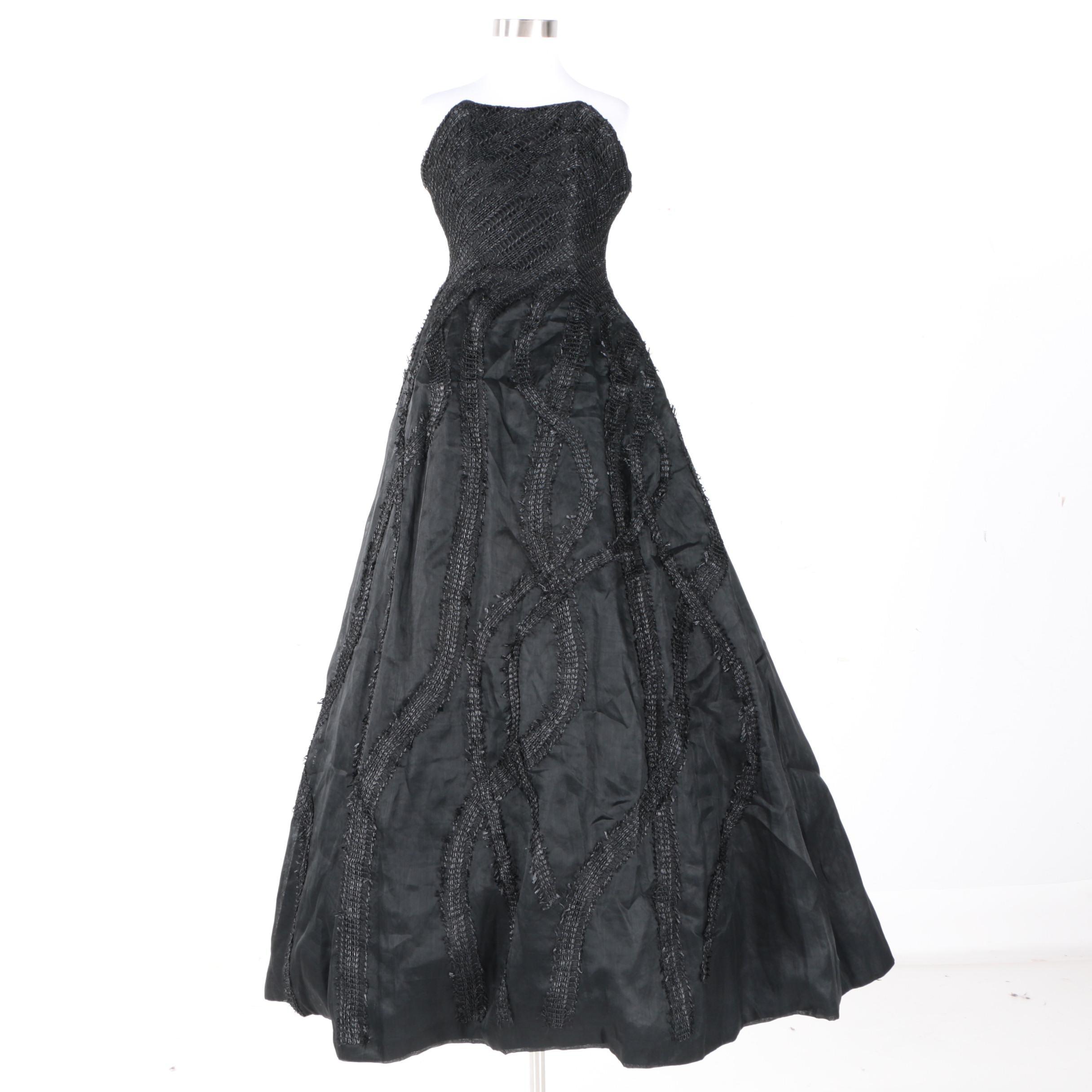 David Fielden Black Strapless Formal Gown