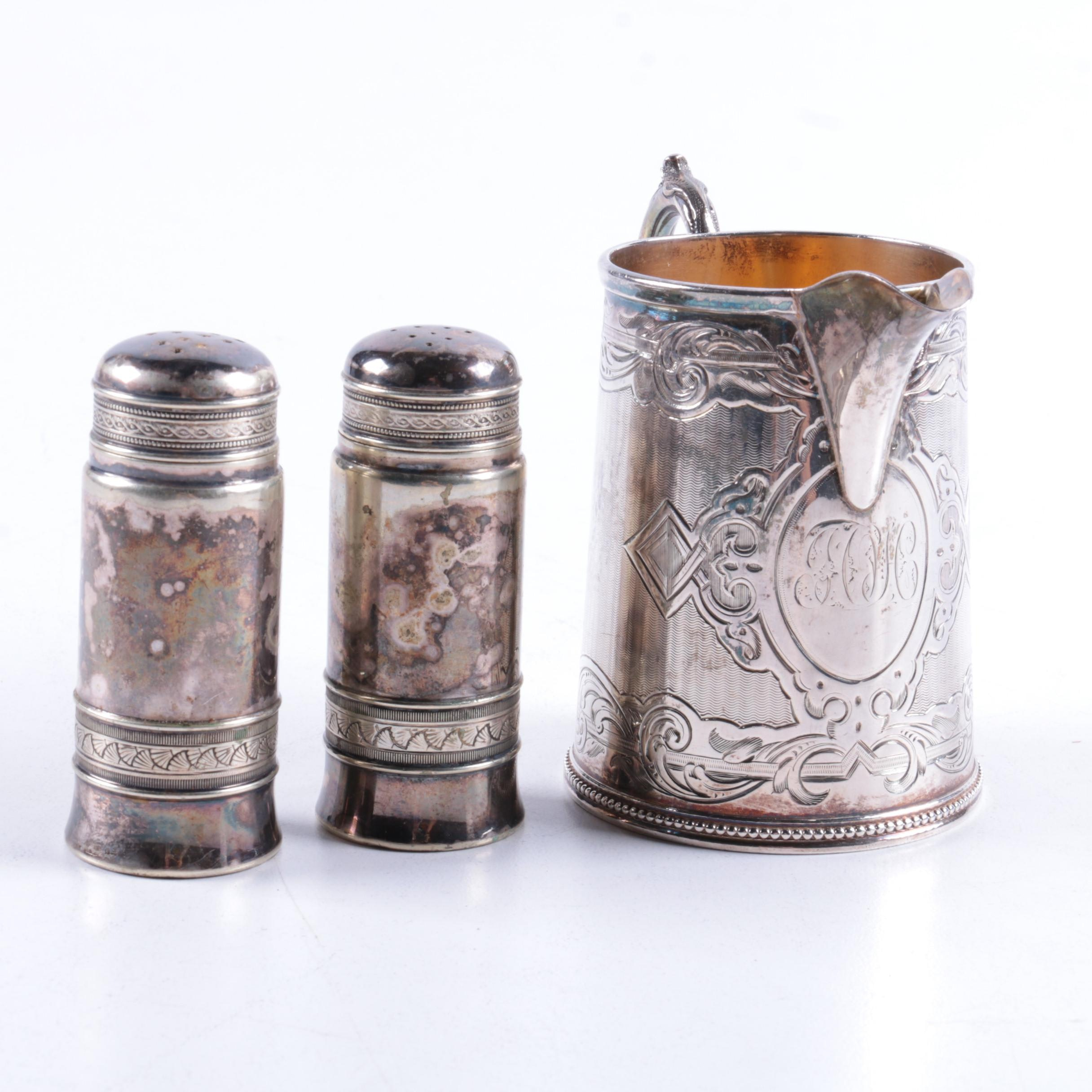 Gorham Silver Plate Salt and Pepper Set with Victorian Sterling Creamer