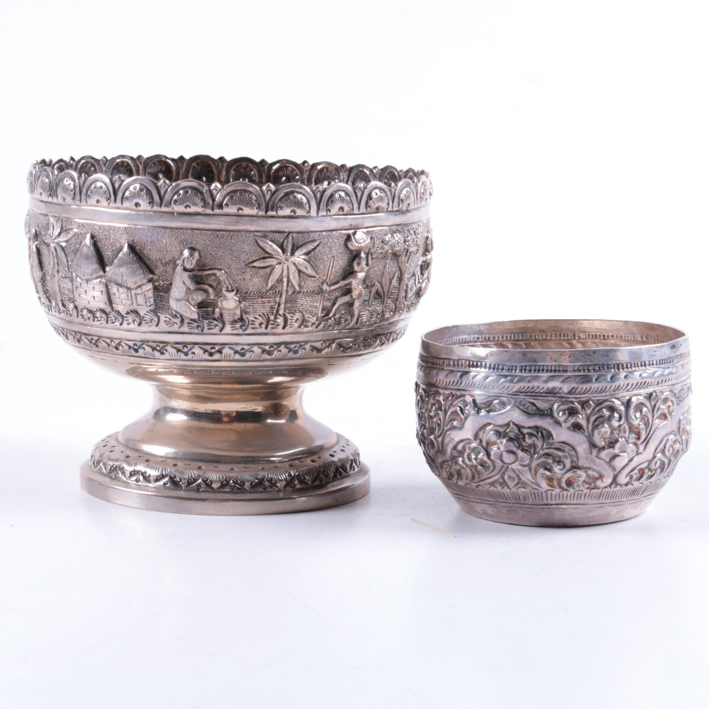 Unique Southeast Asian Repoussé Silver Bowls