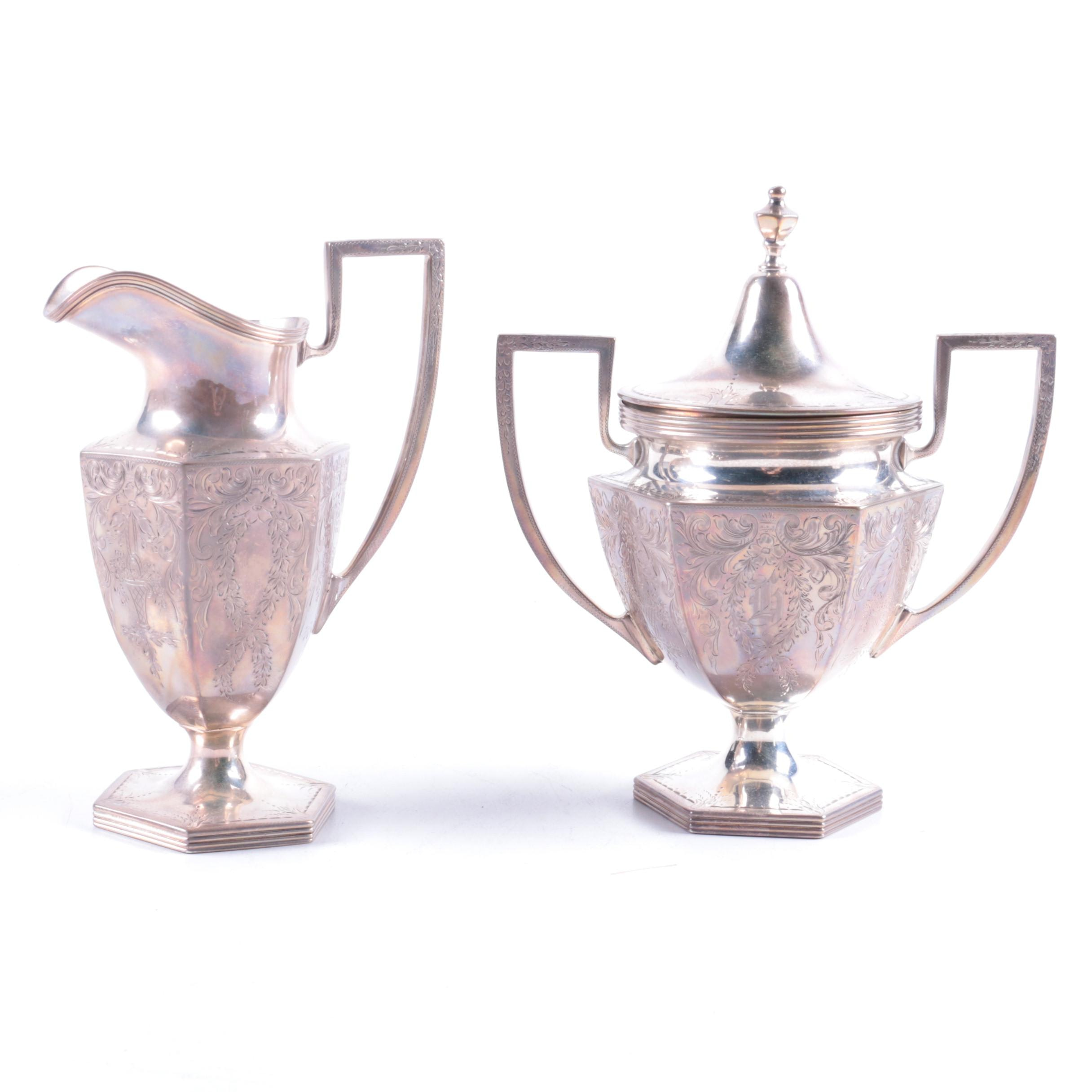 "The Stieff Co. ""Puritan-Engraved"" Sterling Silver Creamer and Sugar Bowl Set"