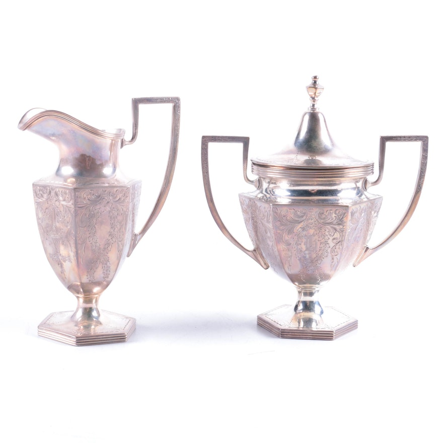 """The Stieff Co. """"Puritan-Engraved"""" Sterling Silver Creamer and Sugar Bowl Set"""