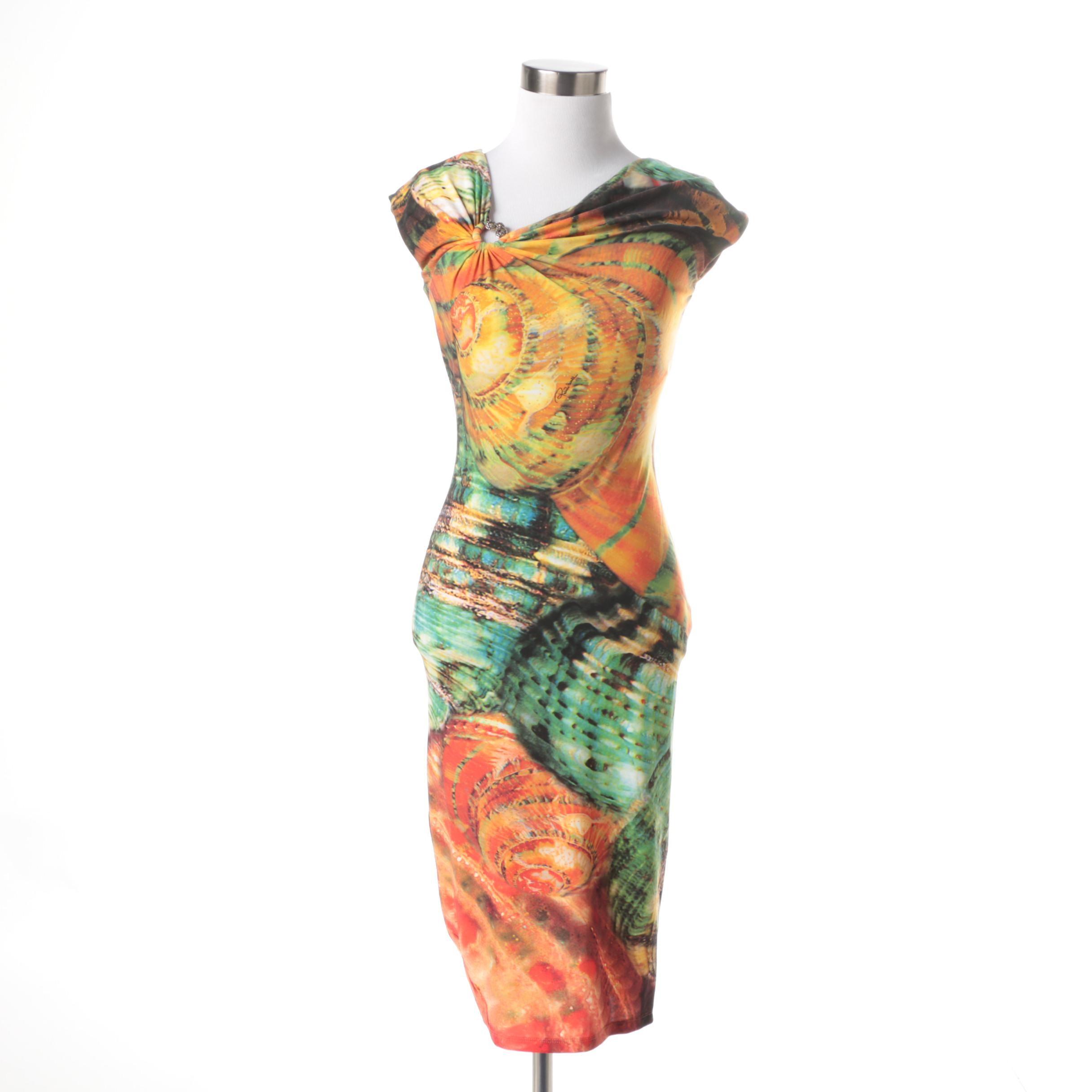 Roberto Cavalli Painterly Bodycon Dress