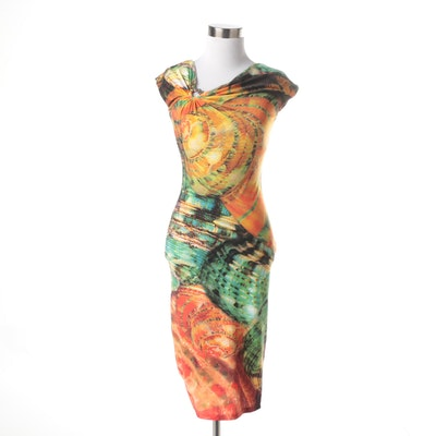 Roberto Cavalli Painterly Bodycon Dress