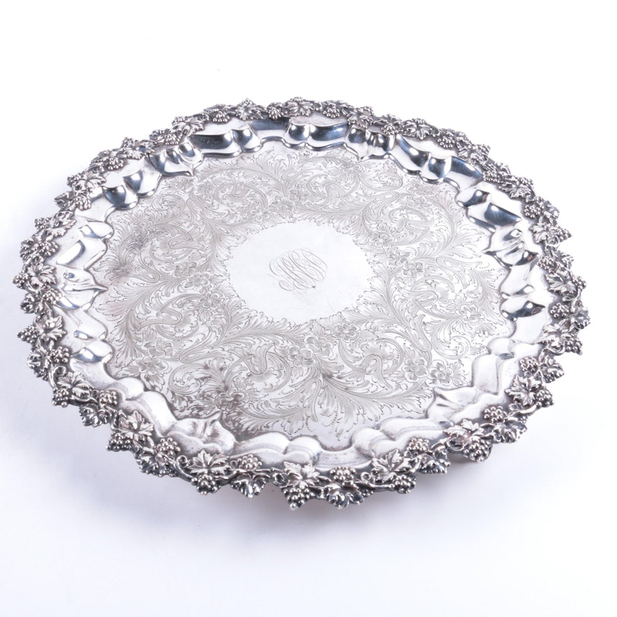 S.B. & Co. Silver Plate Grape Motif Footed Platter