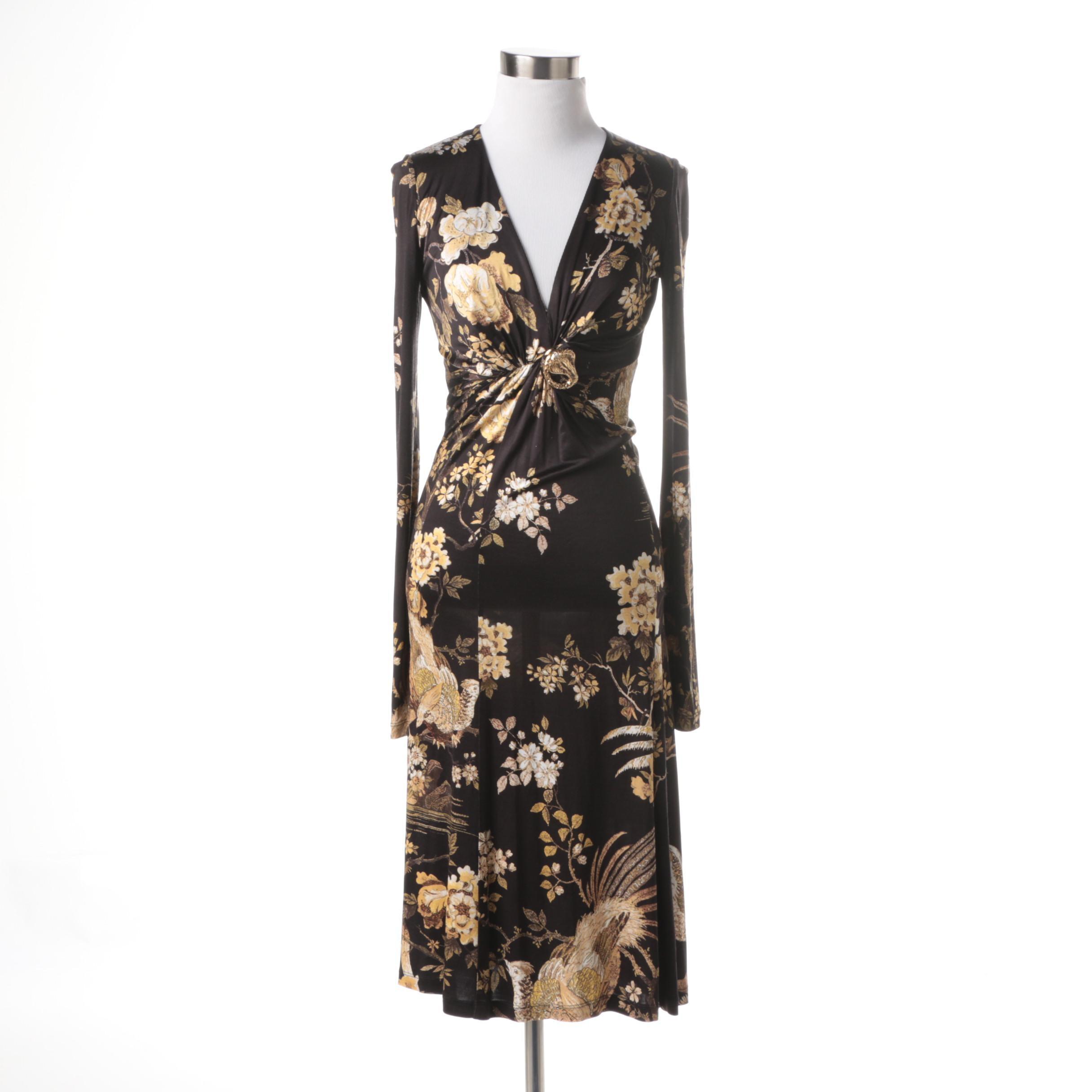 Roberto Cavalli Stretch Floral Print Dress