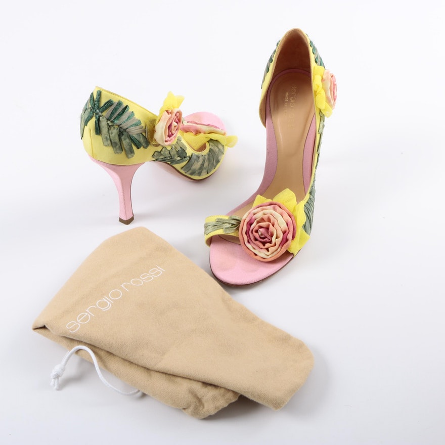 Sergio Rossi Floral Open Toe Heels   EBTH 89200be7a