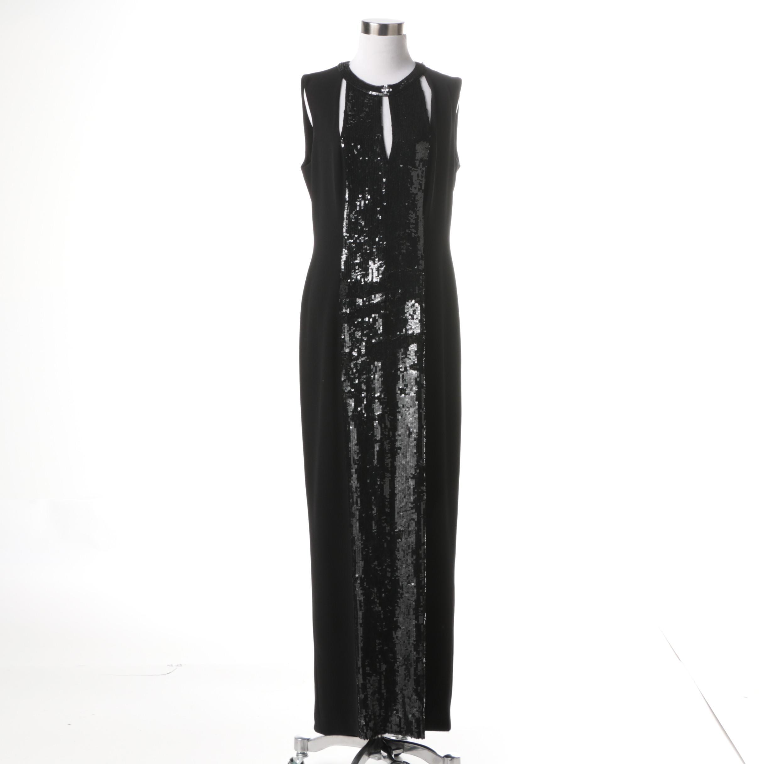 Escade Black Sequin Evening Dress