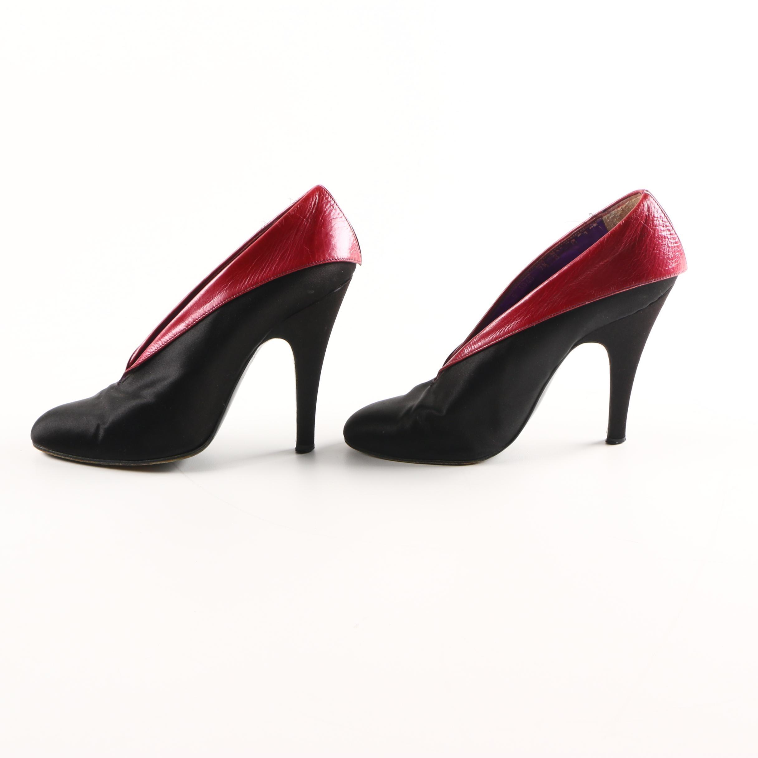 Pancaldi Red Leather Trimmed Black Satin Heels