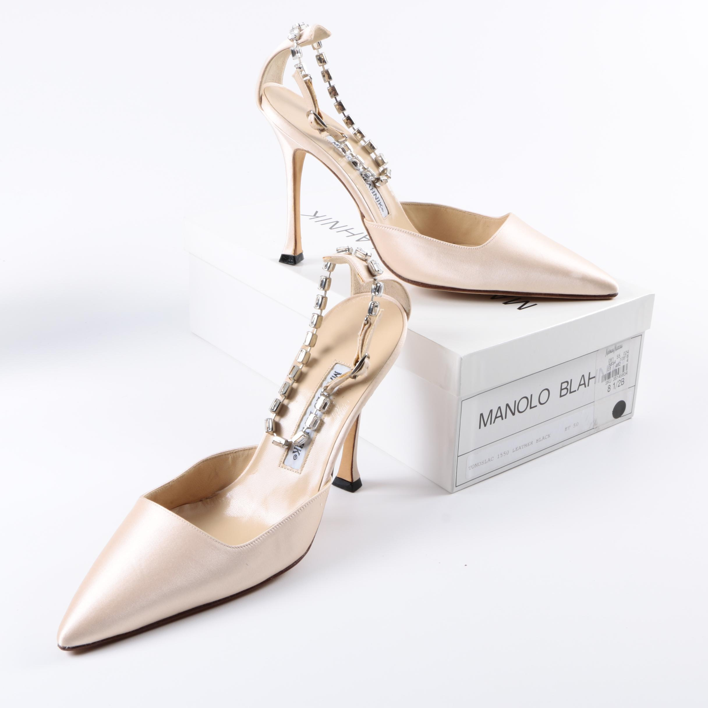 Manolo Blahnik Jewel Ankle Strap High Heels
