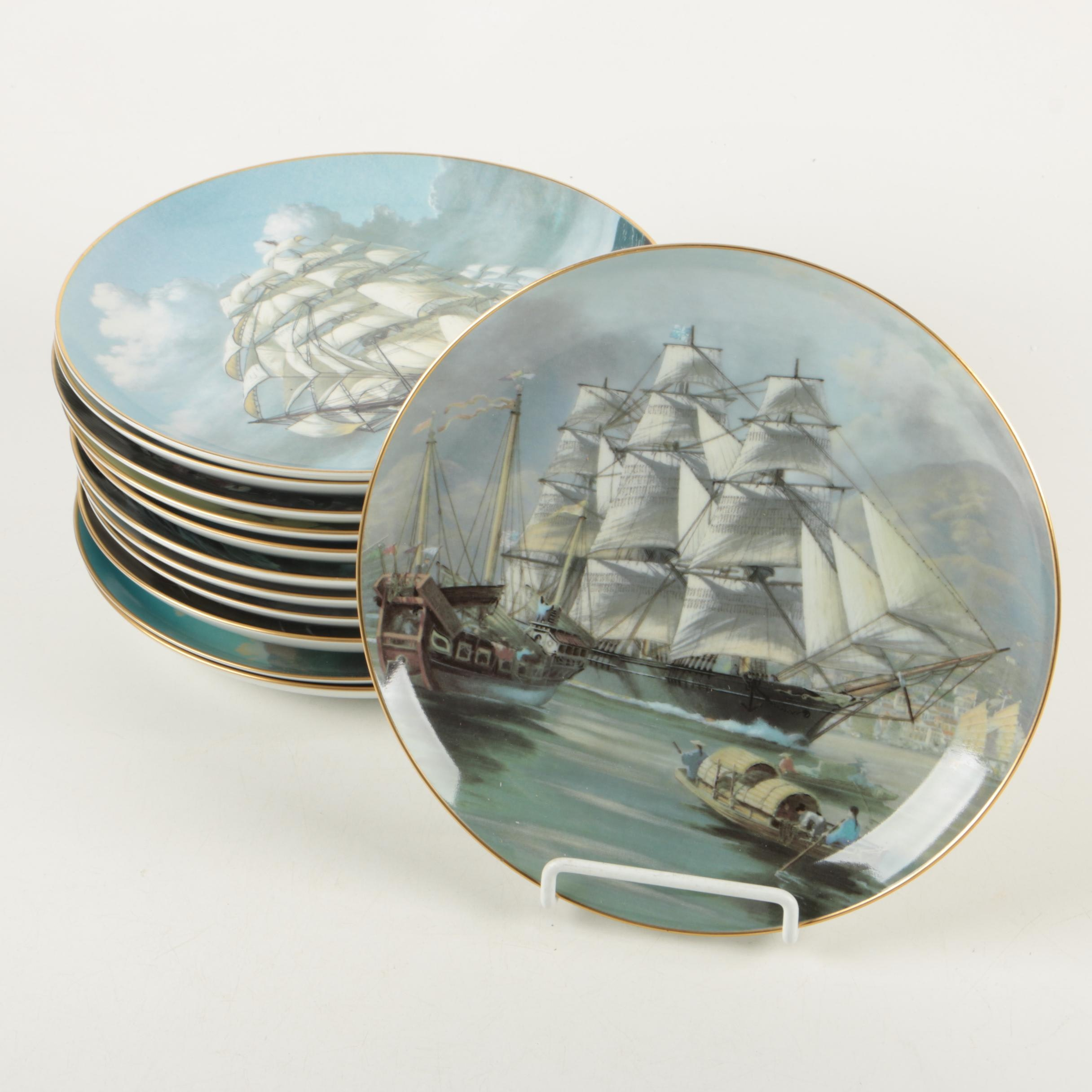 "1981 Franklin Porcelain ""The Great Clipper Ships"" Porcelain Plates"
