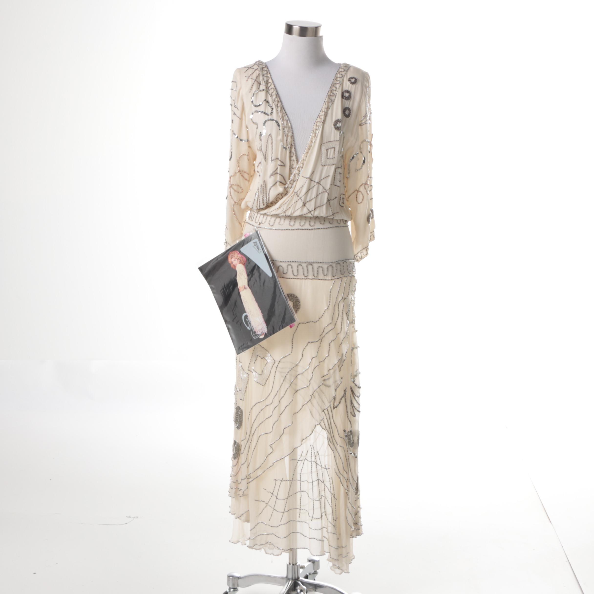 Vintage Beaded Silk Dress