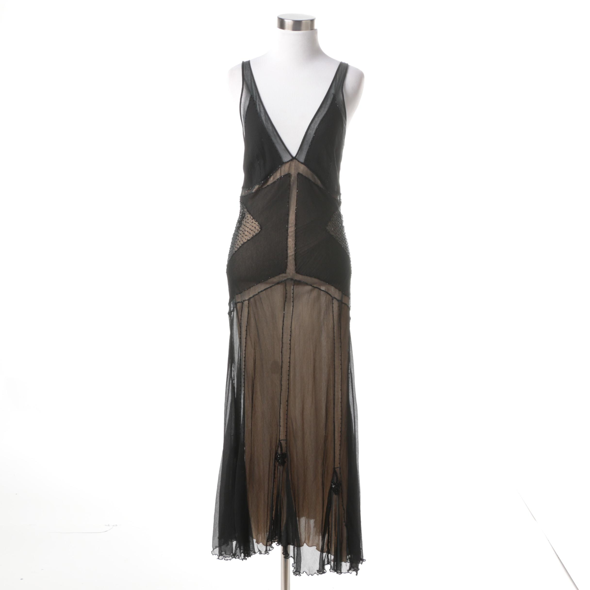 Viviana Uchitel Tea Length Art Deco Silk Dress