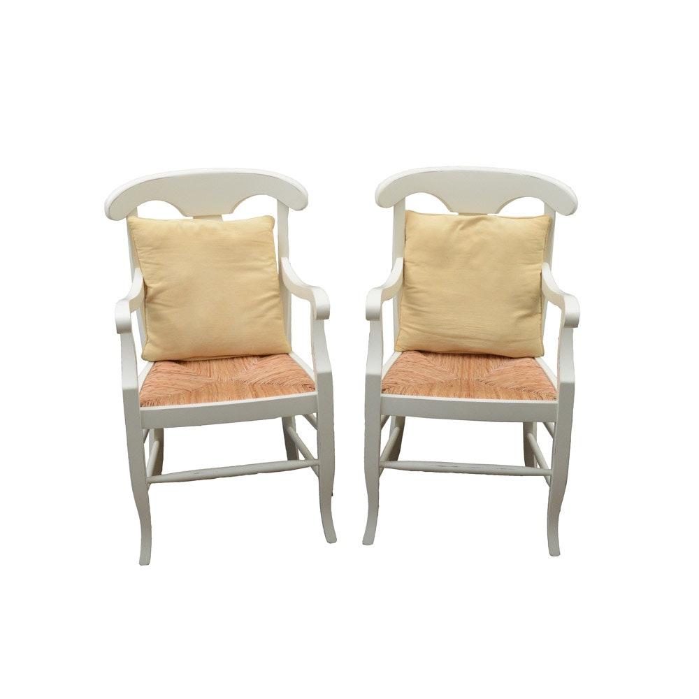 "Pair of Pottery Barn ""Napoleon"" Arm Chairs with Pillows"