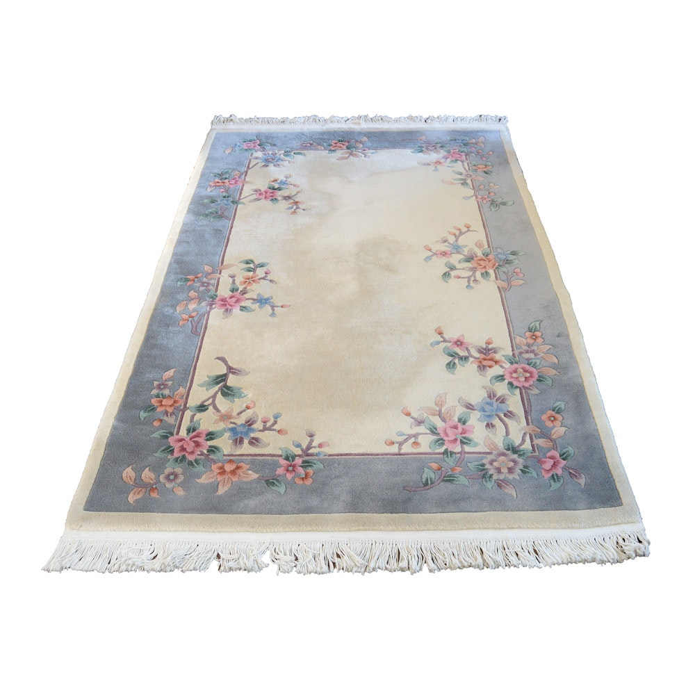 Hand-Knotted and Carved Beige and Blue-Gray Wool Area Rug