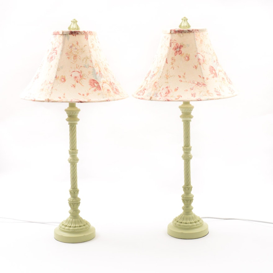 painted floor base floral distressed wooden shade slightly with ivory and turned lamp