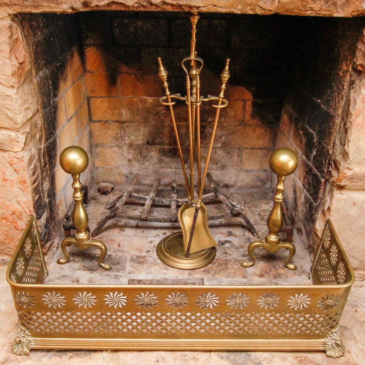 Vintage Brass Fireplace Accessories