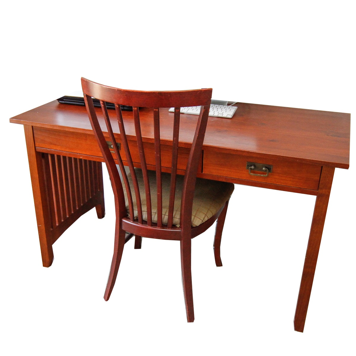 Arts and Crafts Style Cherry Stained Computer Desk With Chair