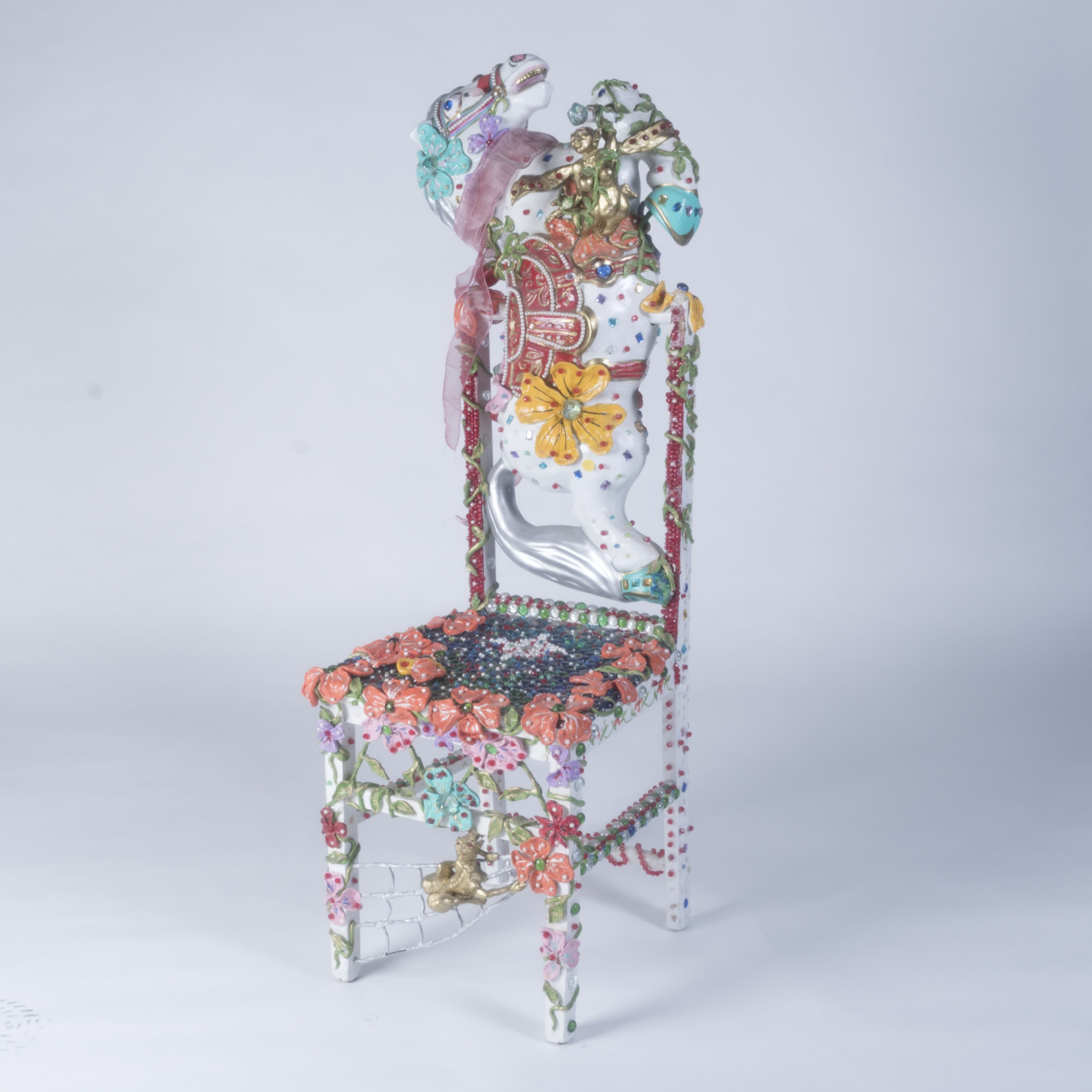 """Unique """"Jeweled""""  Encrusted Horse Chair"""