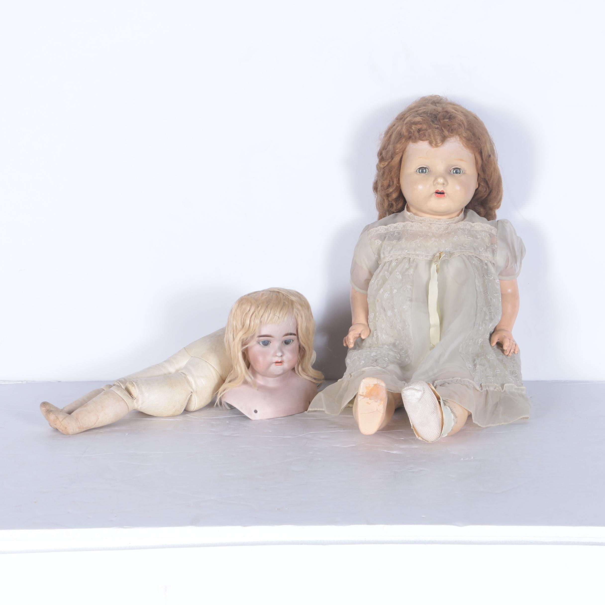 Antique Bisque Shoulder Doll and Vintage Composition Baby Doll