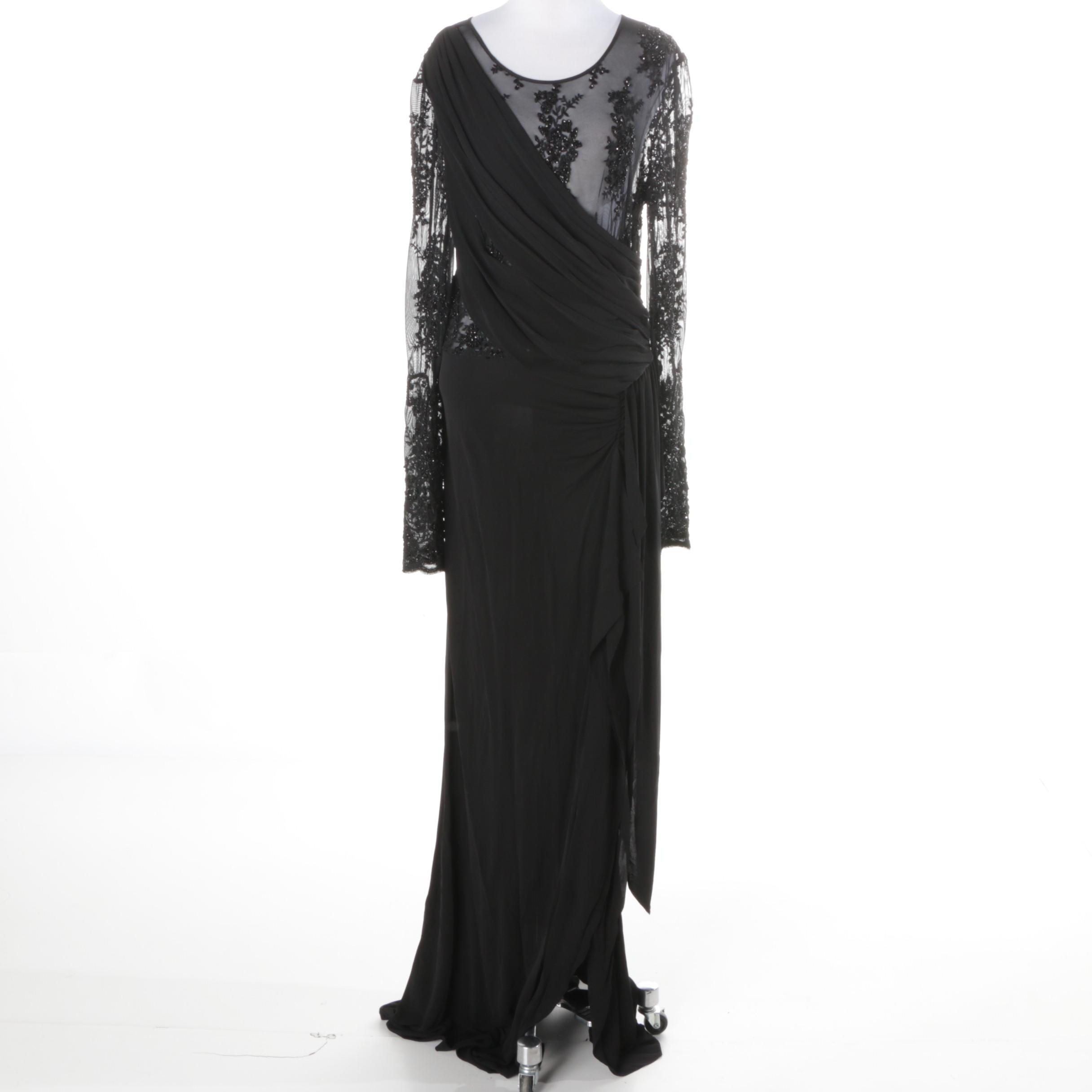 ABS Allen Swartz Embellished Black Evening Dress with Lace
