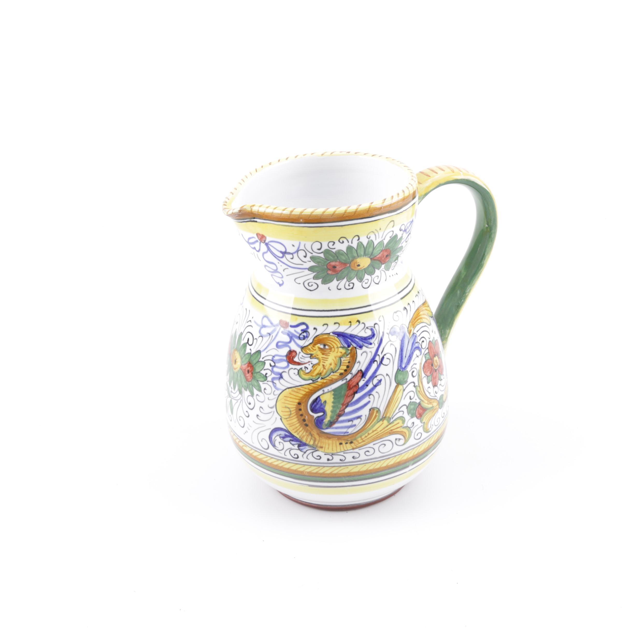 Fima Deruta Italian Pottery Pitcher