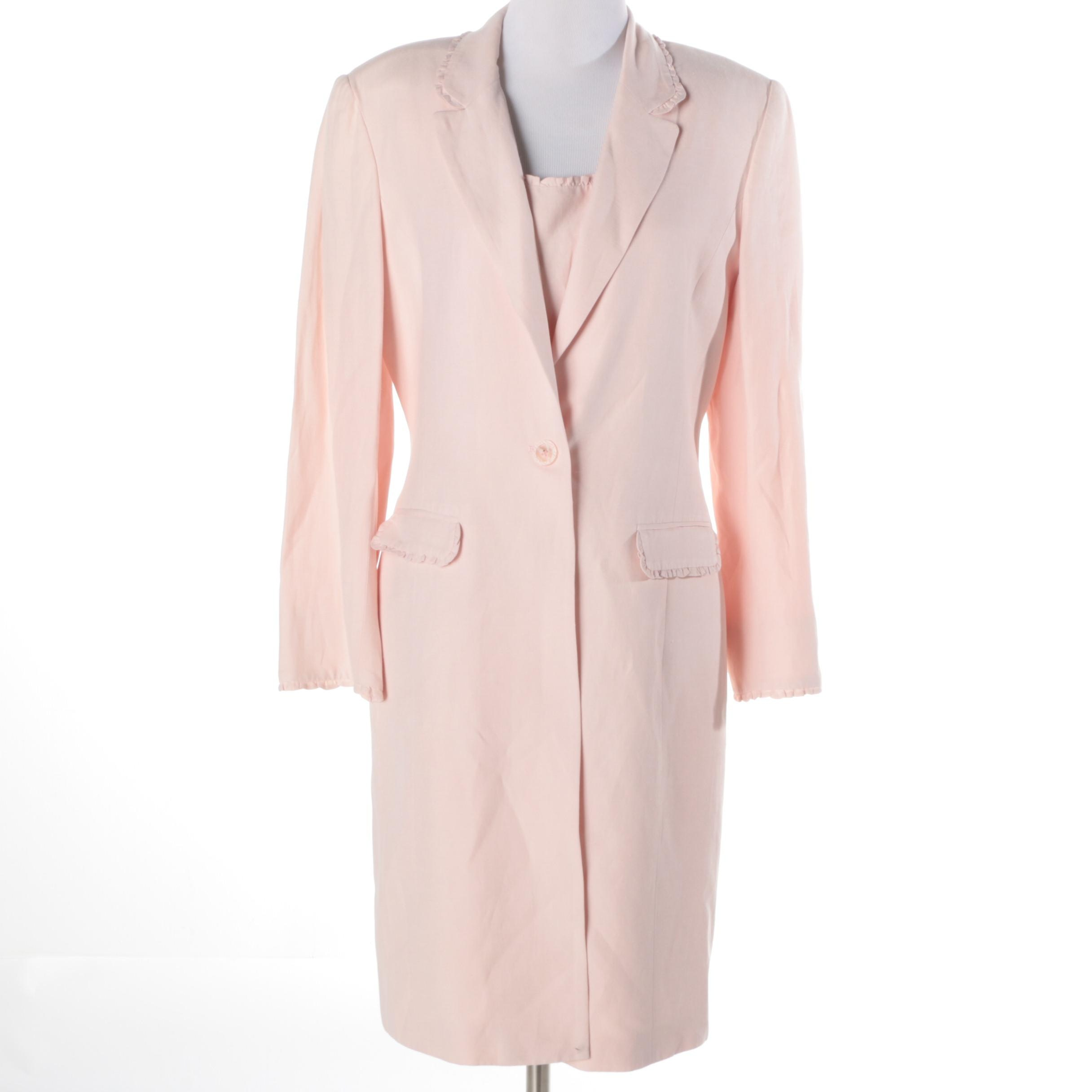 Bergamo by Ebi Pink Silk and Linen Blend Dress and Coat