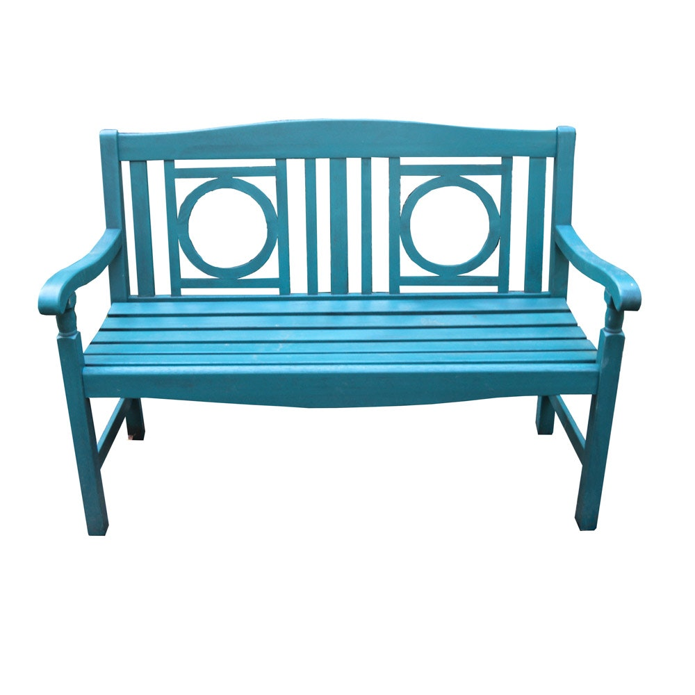 Teal Painted Garden Bench