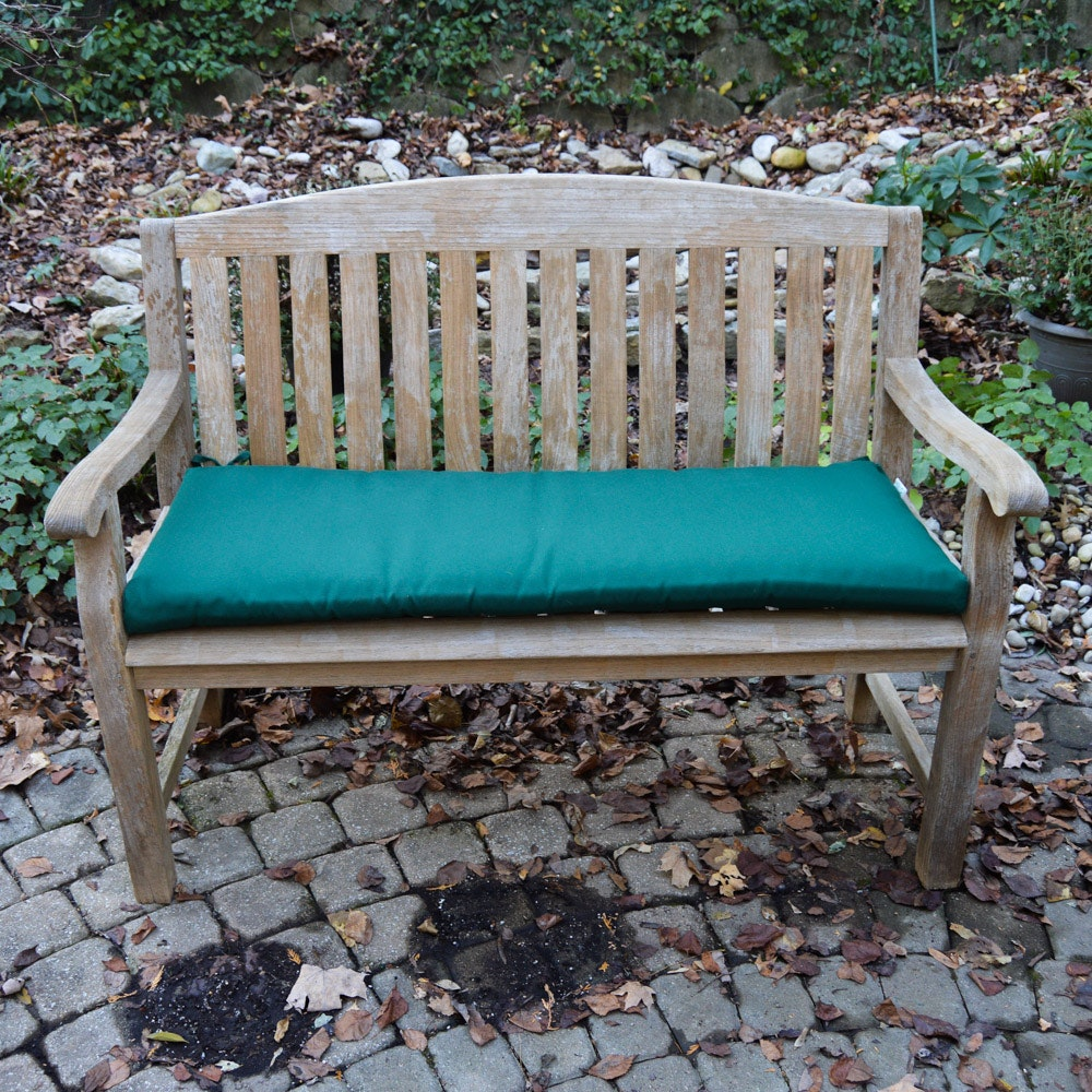 Unfinished Wood Garden Bench with Green Cushion