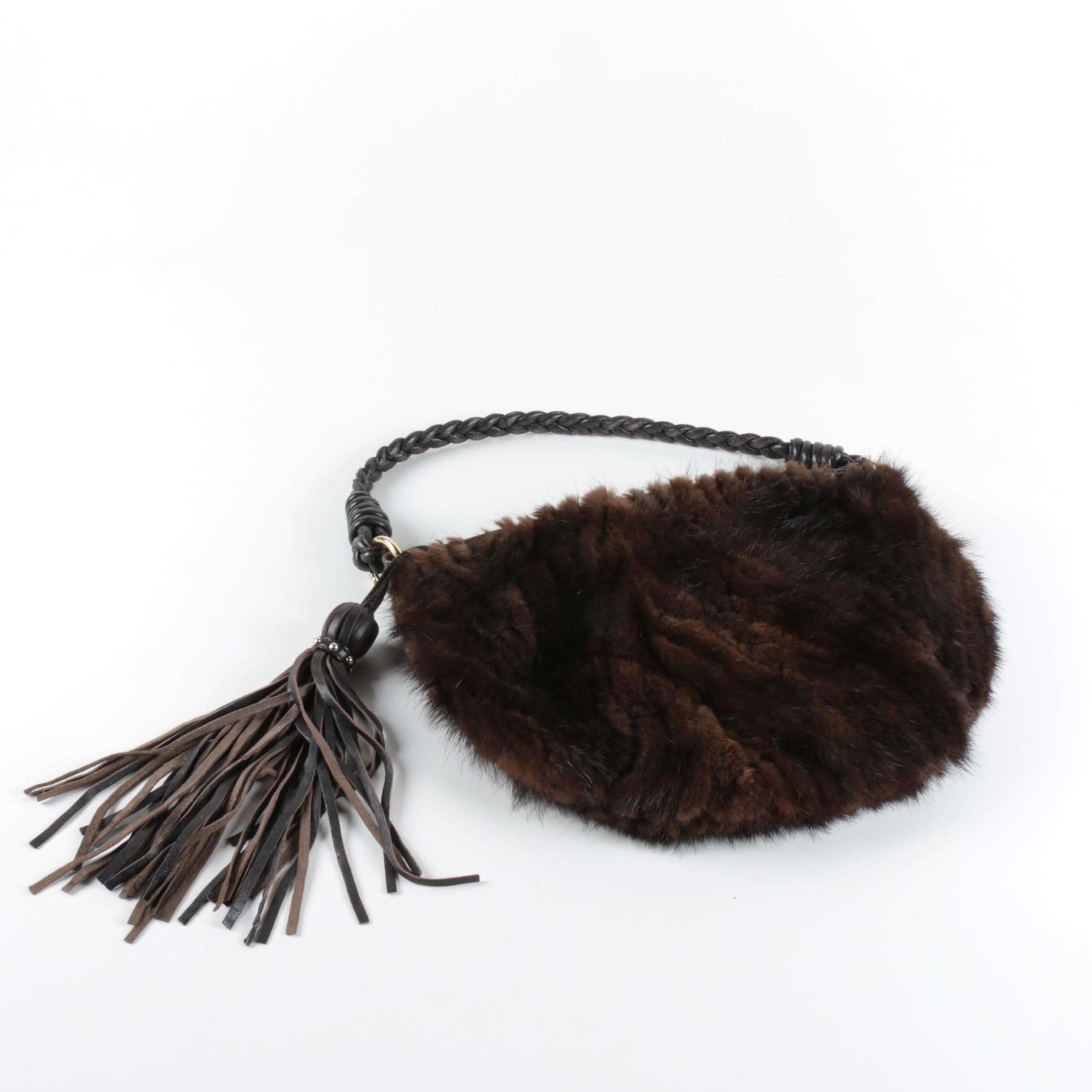 Paolo Masi Italian Mink and Leather Handbag