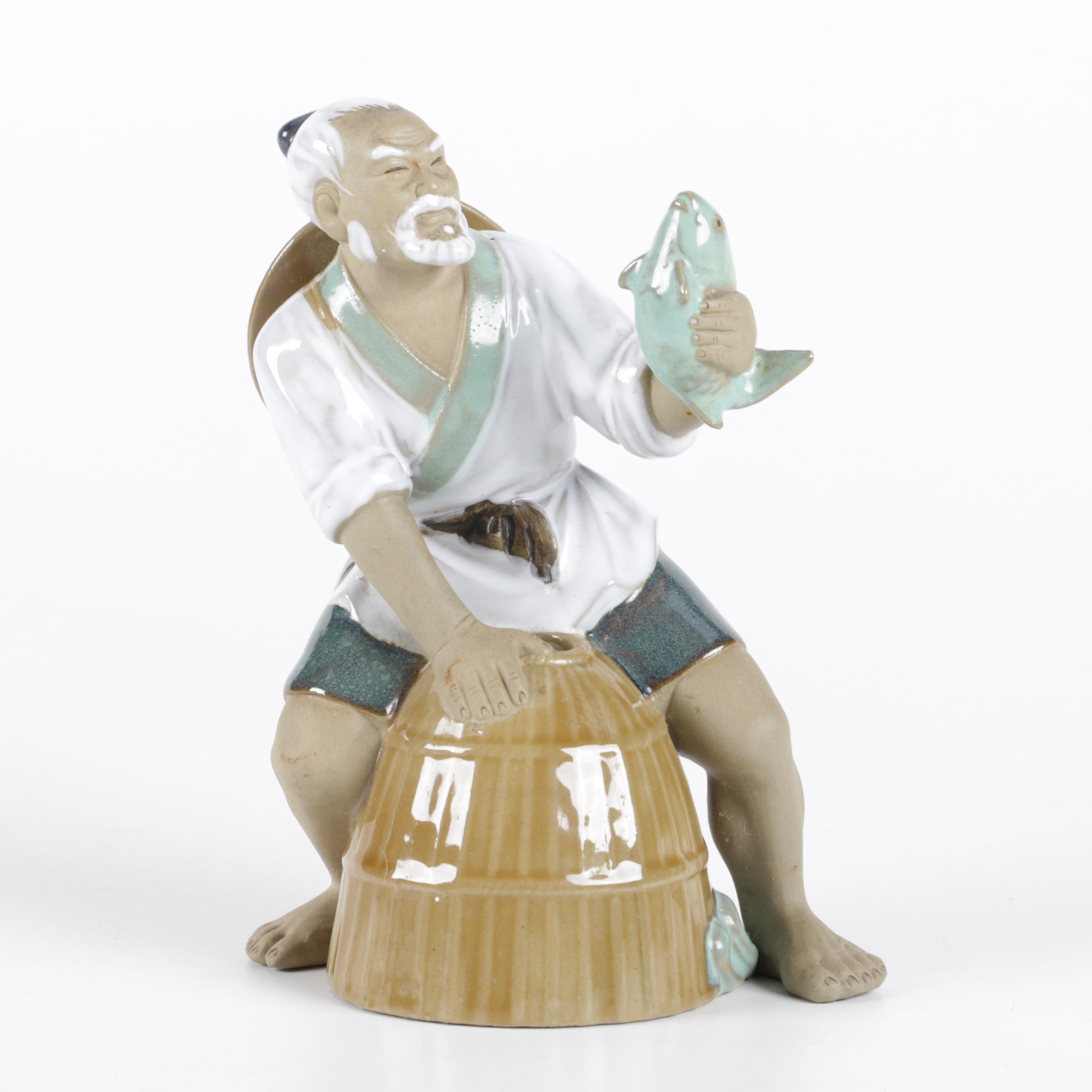 Shekwan Ceramics Chinese Fisherman Figurine