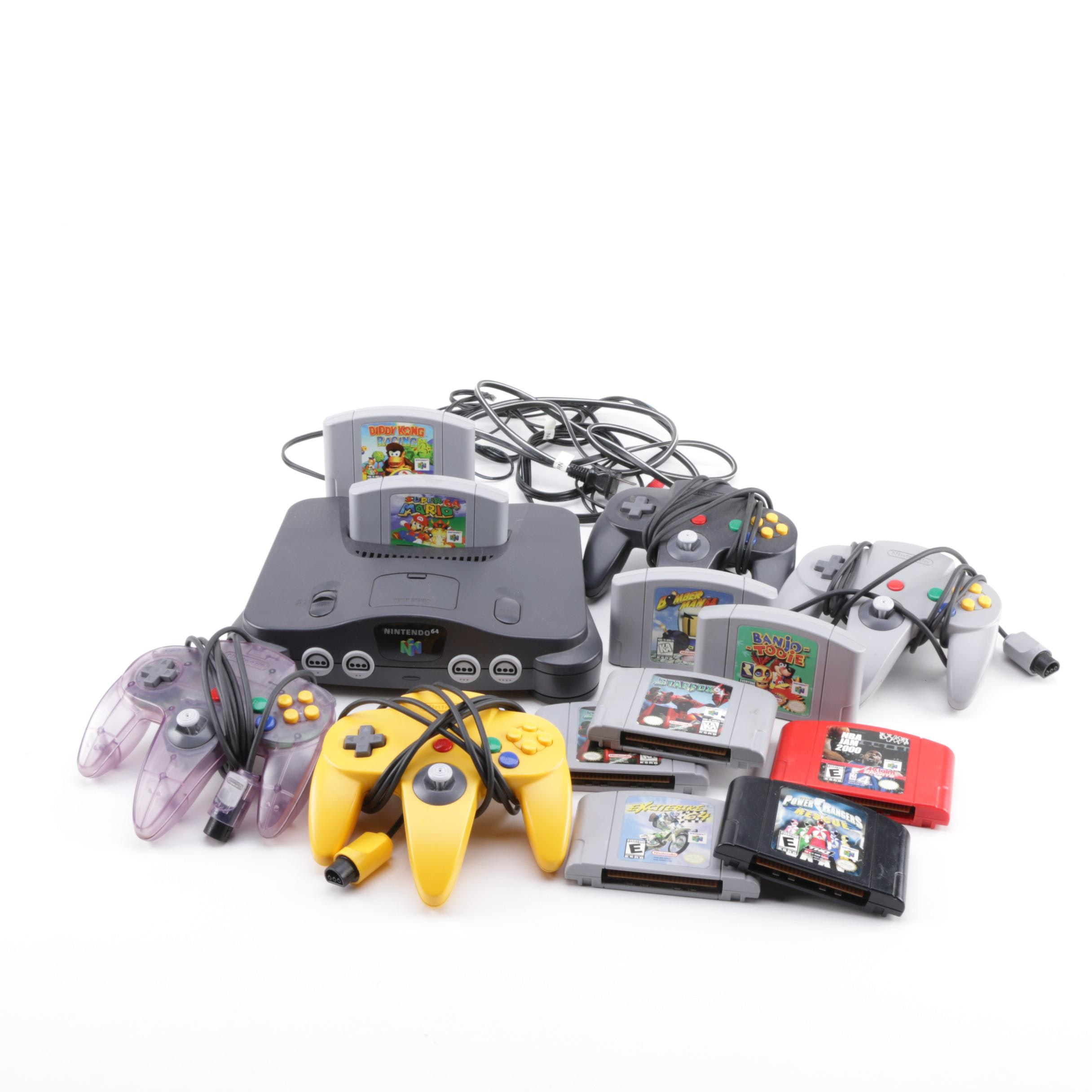 Nintendo 64 Console with Games and Controllers