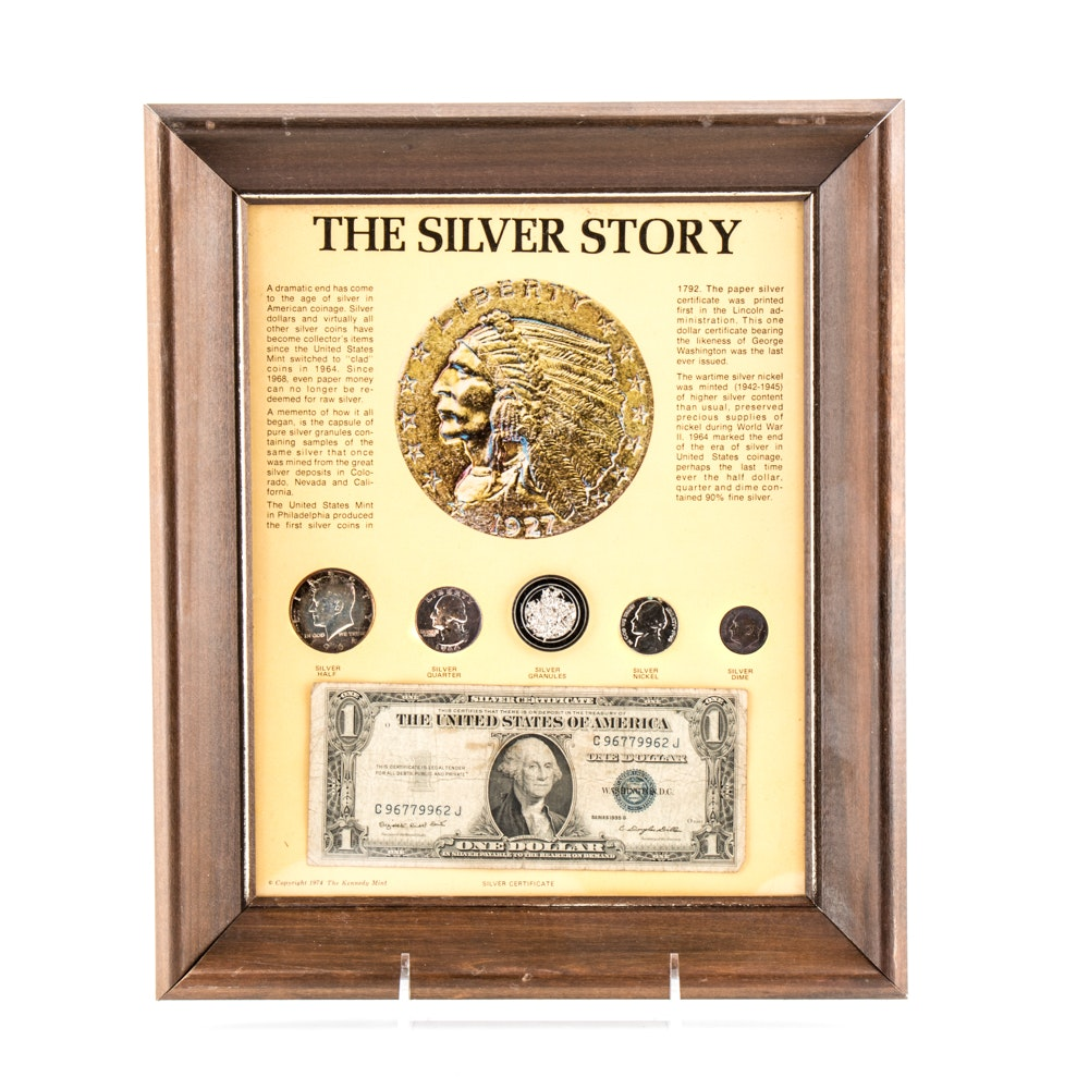 """The Silver Story"" Framed Coin and Currency Set"