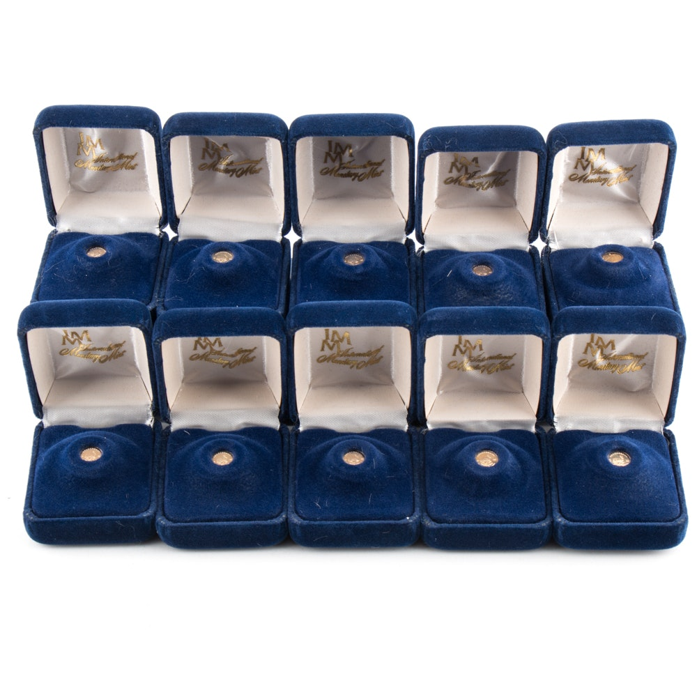 Ten Miniature 14K Gold 1980 Krugerrands