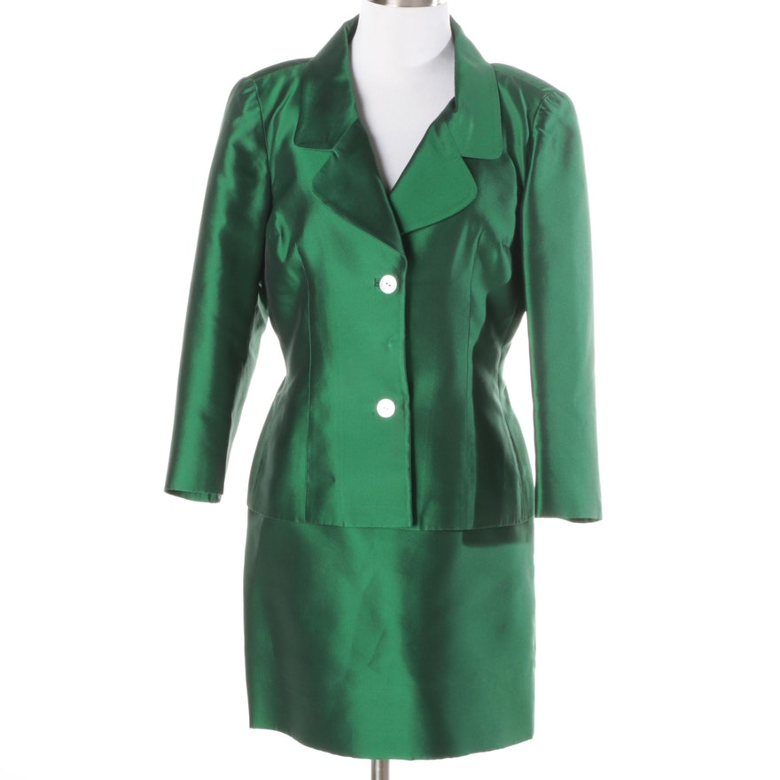 Dolce & Gabbana Emerald Green Silk Skirt Suit